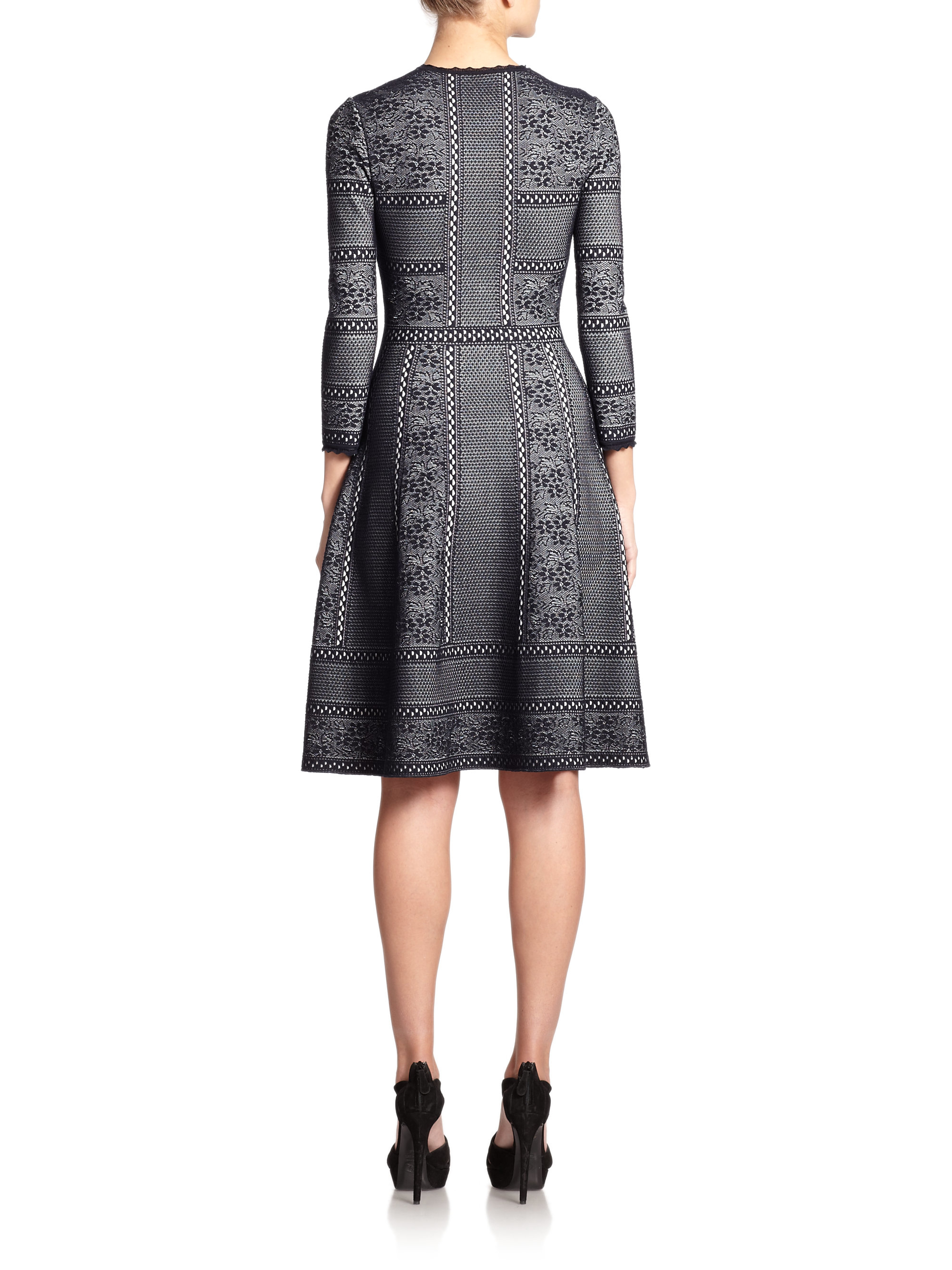 Lyst Alexander Mcqueen Victorian Jacquard Knit Dress In Gray