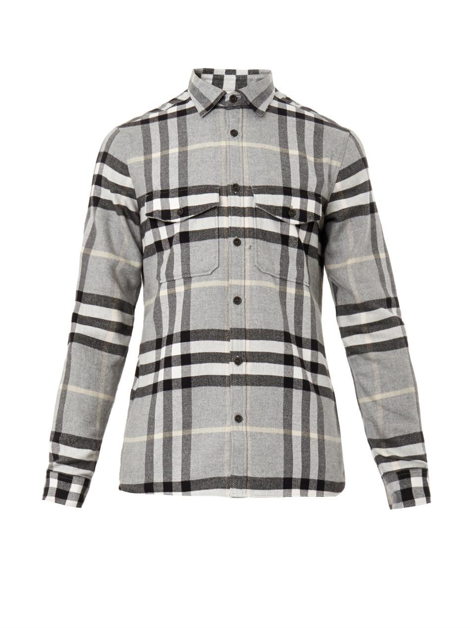 Lyst burberry brit checked flannel shirt in gray for men for Burberry brit checked shirt