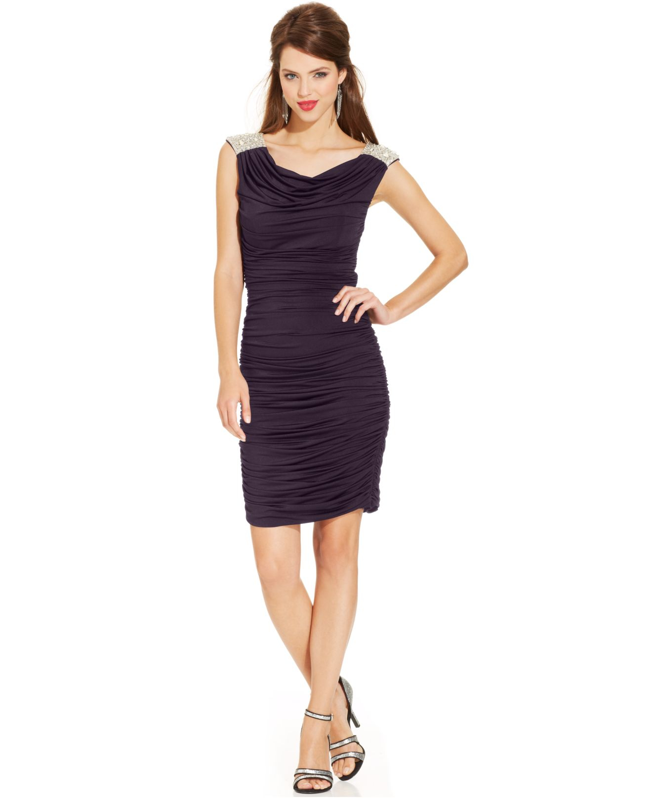 JS Boutique Embellished Ruched Dress