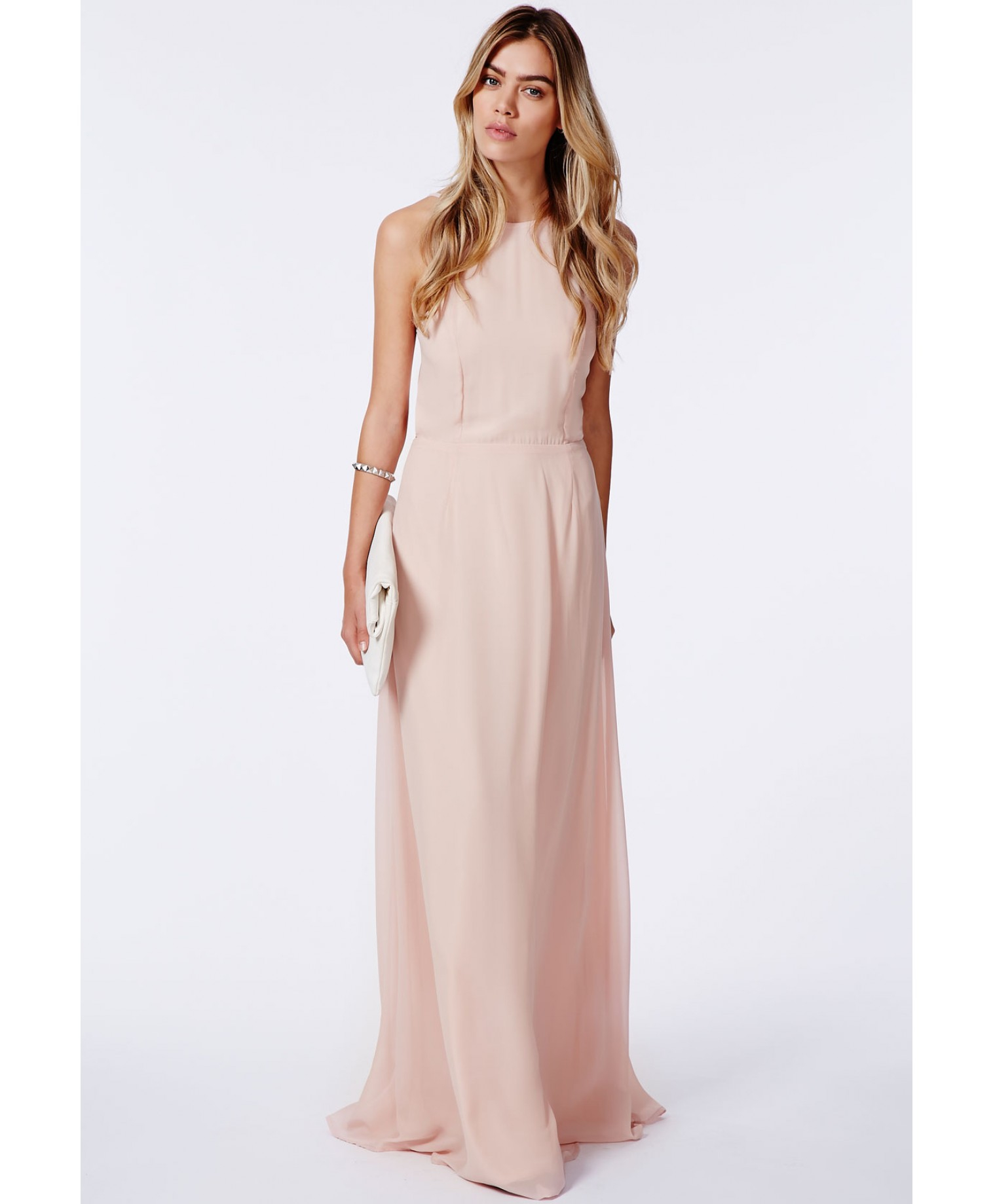 Missguided Strappy Open Back Maxi Dress Nude In Pink Lyst