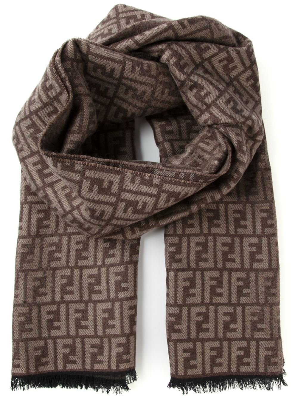 4b5a9a74993 Fendi Ff Logo Scarf in Brown for Men - Lyst