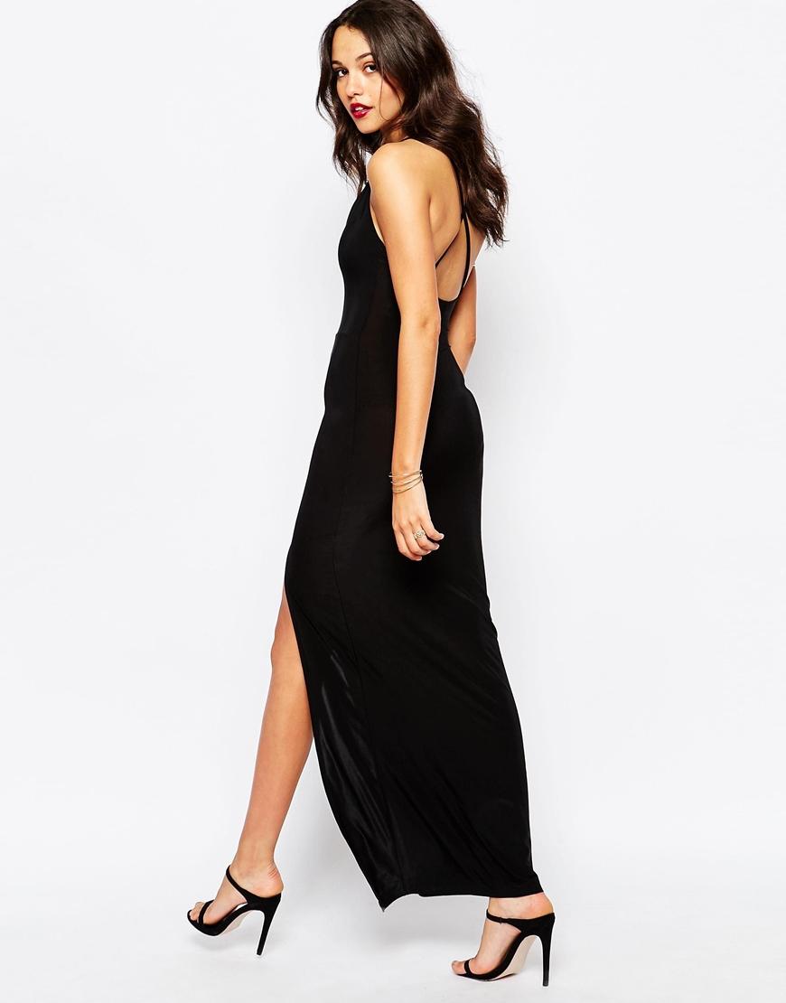 8b86e215df3 Boohoo Thigh High Split Maxi Dress in Black - Lyst