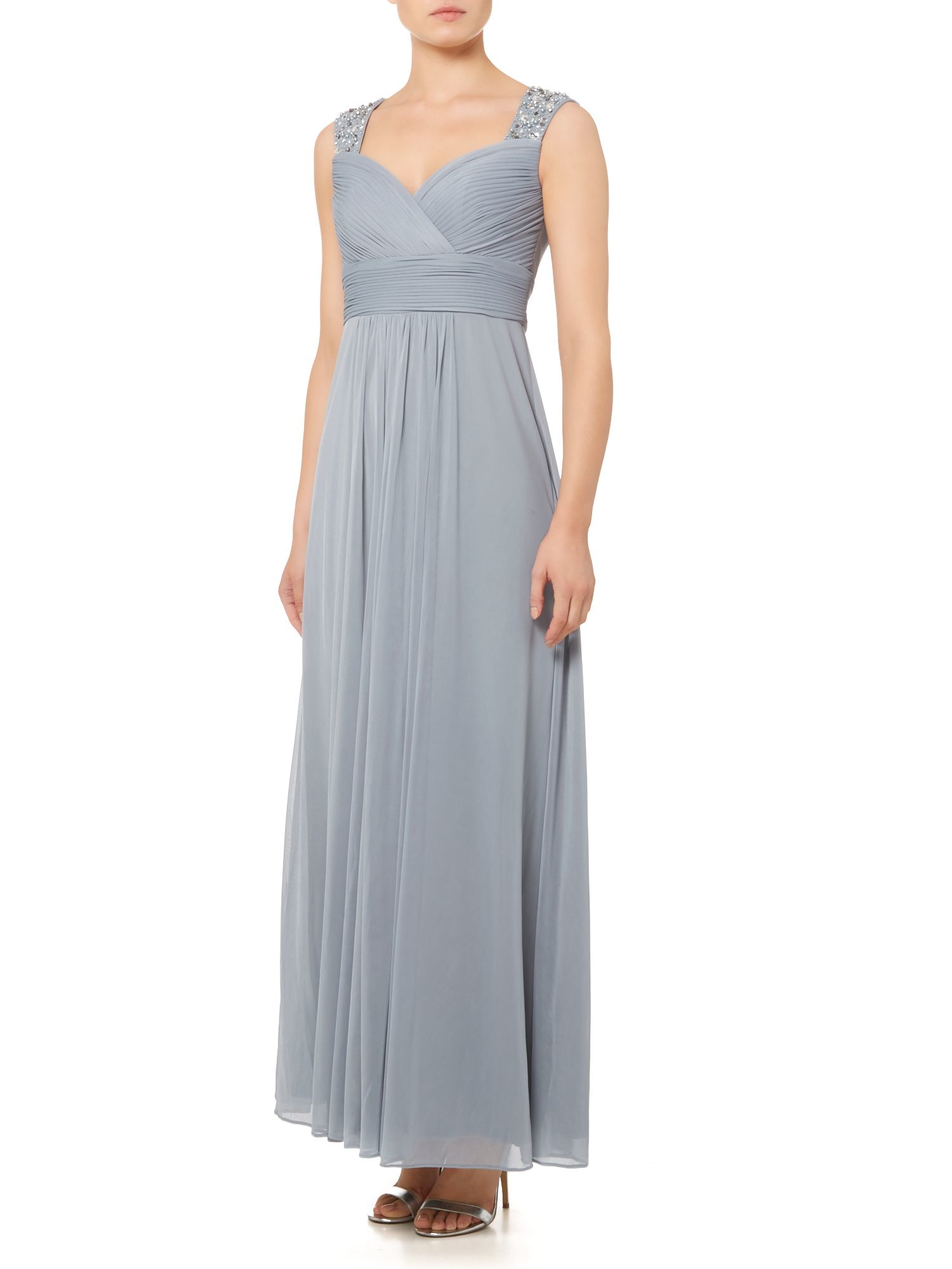 eliza j beaded dress with front bodice rouching in