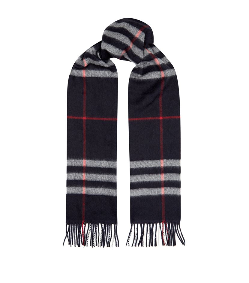 burberry check scarf in blue for lyst