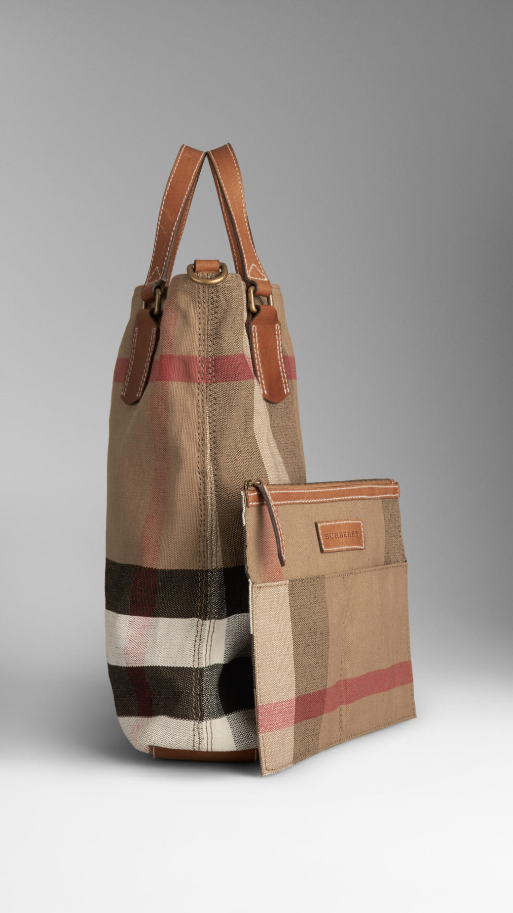 89922b09cdf Lyst - Burberry Medium Canvas Check Tote Bag in Brown
