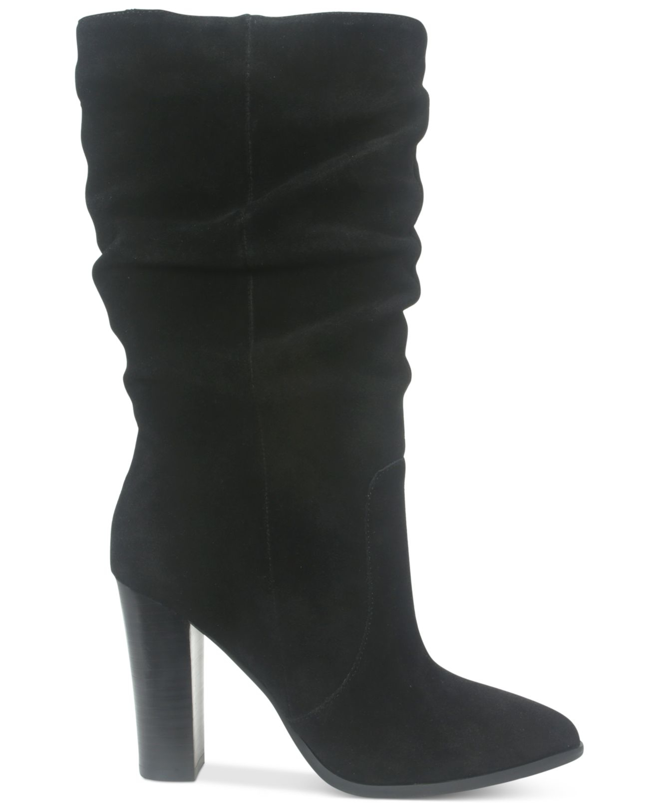 Tahari Alanna Suede Slouchy Mid-calf Boots in Black | Lyst