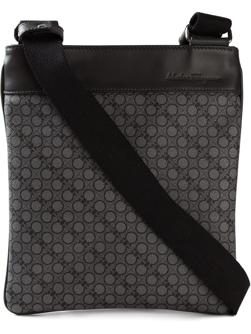 e033e0419bb Lyst - Ferragamo Gancini Print Shoulder Bag in Black for Men