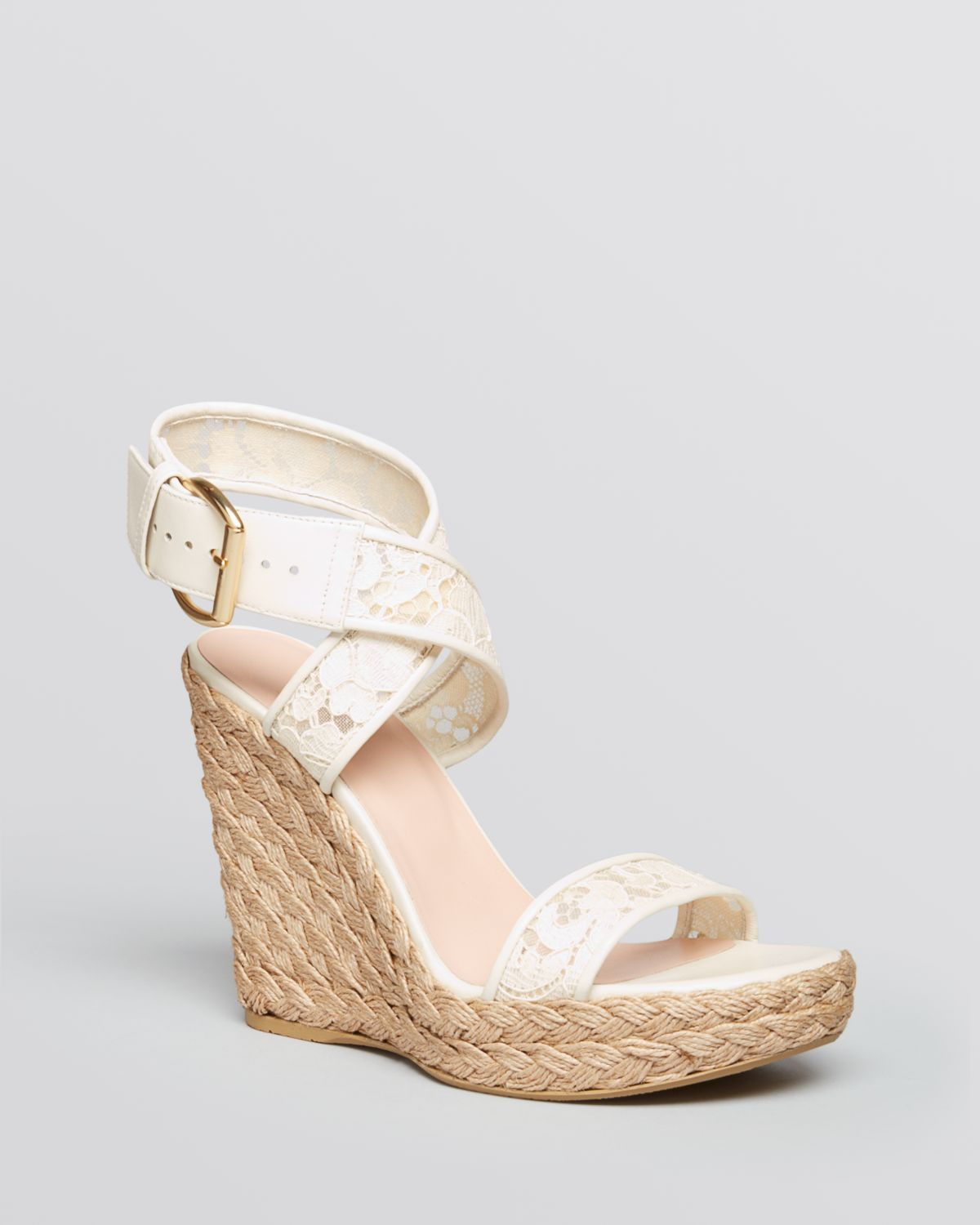 Stuart Weitzman Guipure Wedge Sandals