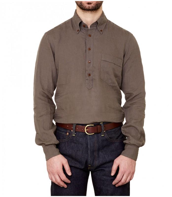 Drake 39 S Button Down Khaki Linen Popover Shirt In Natural
