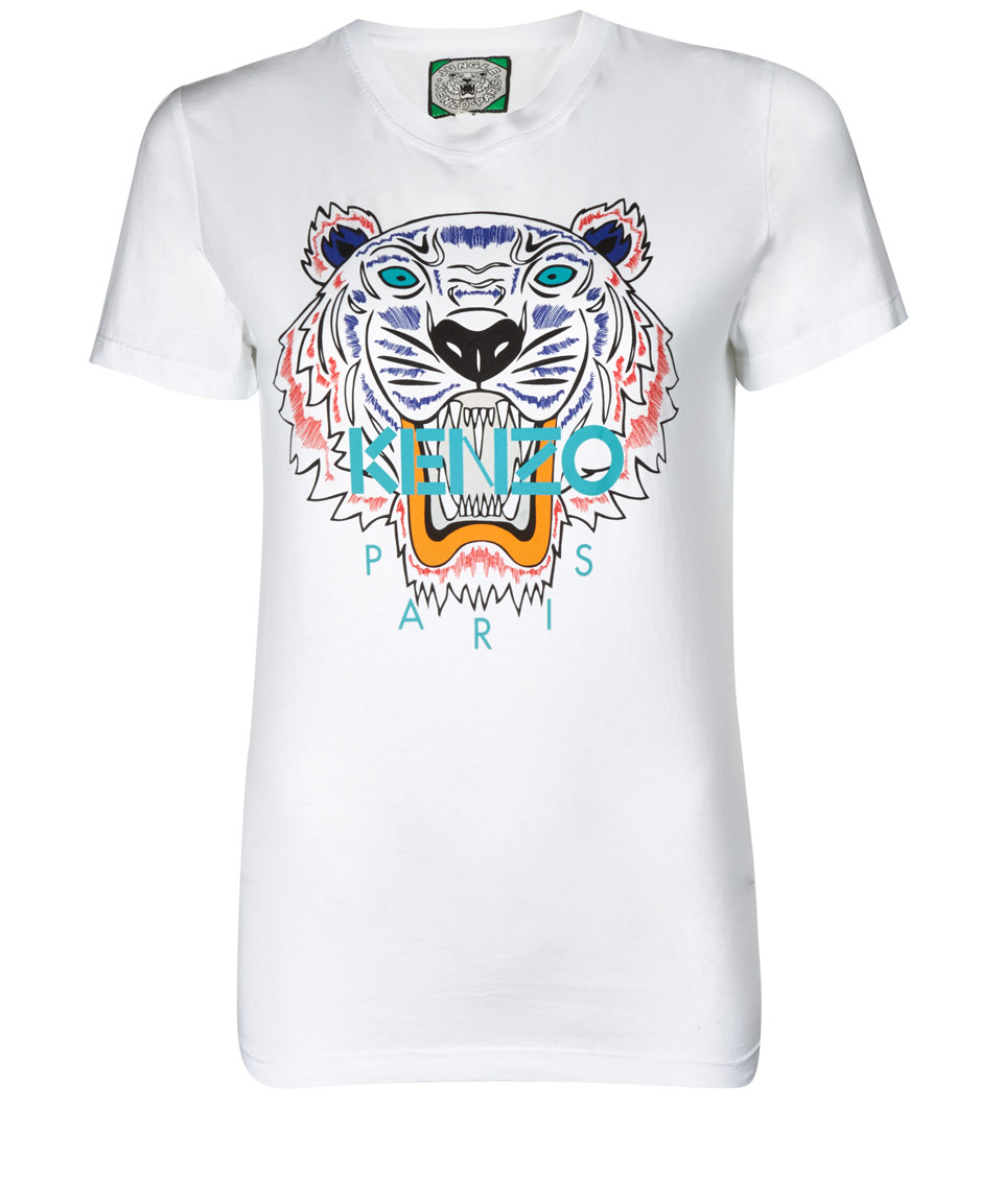 kenzo white cotton tiger tshirt in white for men lyst. Black Bedroom Furniture Sets. Home Design Ideas