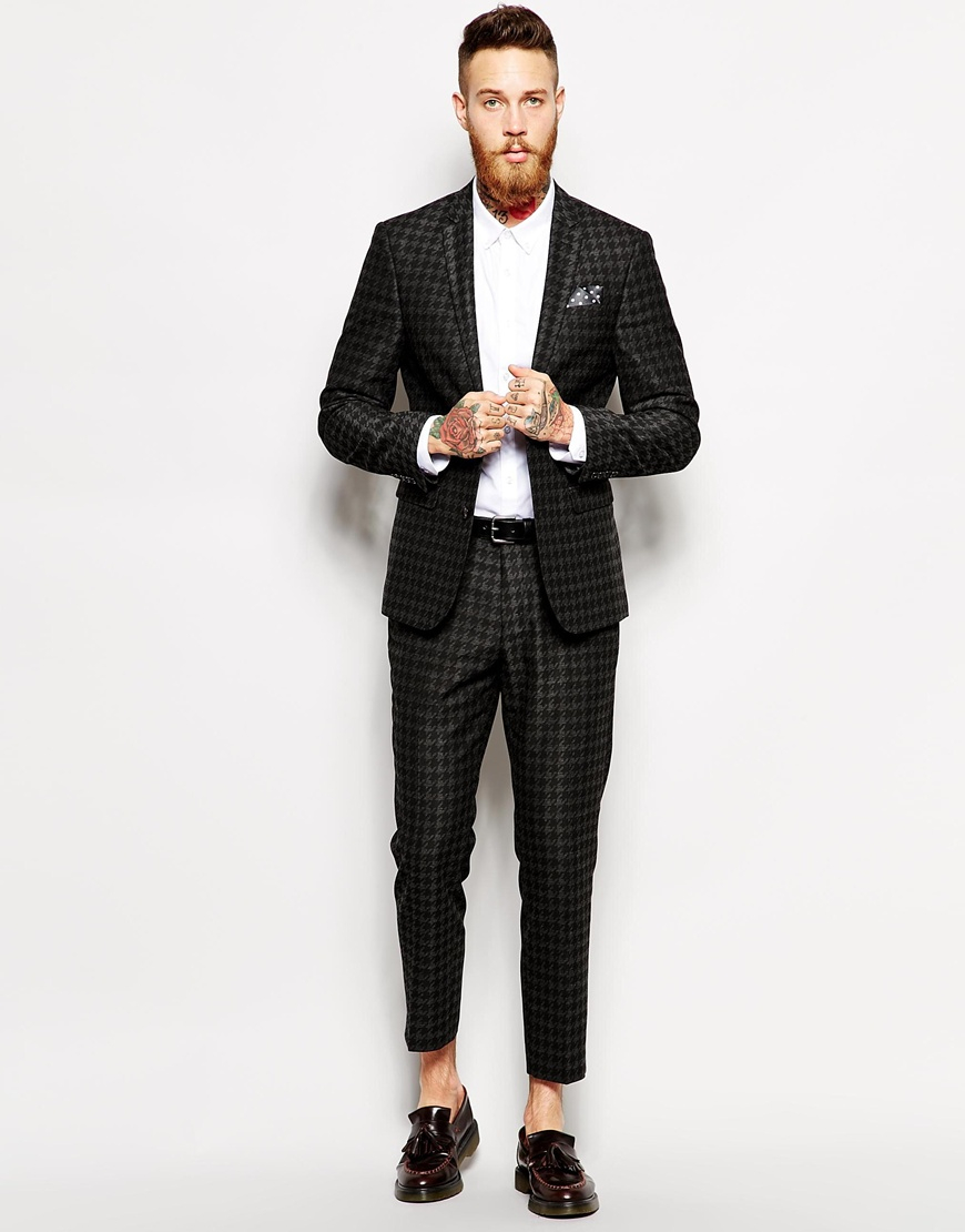 Asos Skinny Fit Suit Jacket In Dogstooth in Gray for Men | Lyst