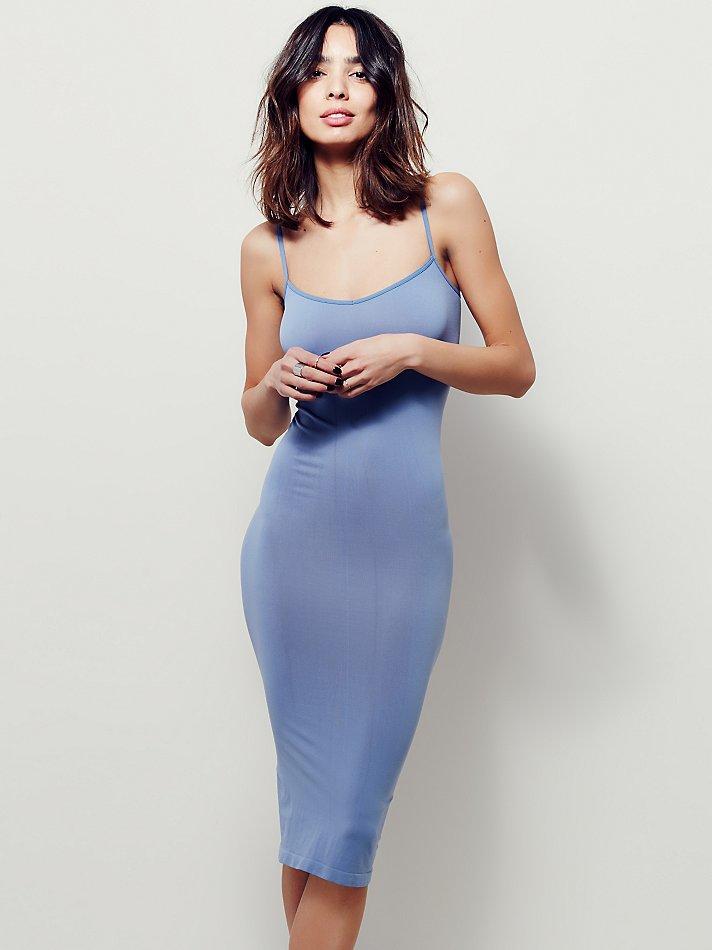 30115554b4fa Free People Intimately Womens Tea Length Seamless Slip in Blue - Lyst
