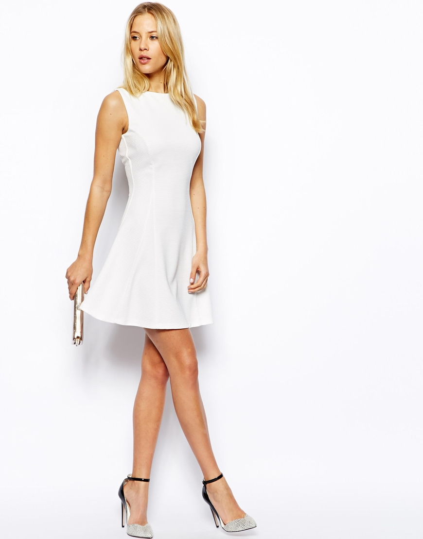 f92f3ba182 Lyst - ASOS Ribbed Fit And Flare Skater Dress in White