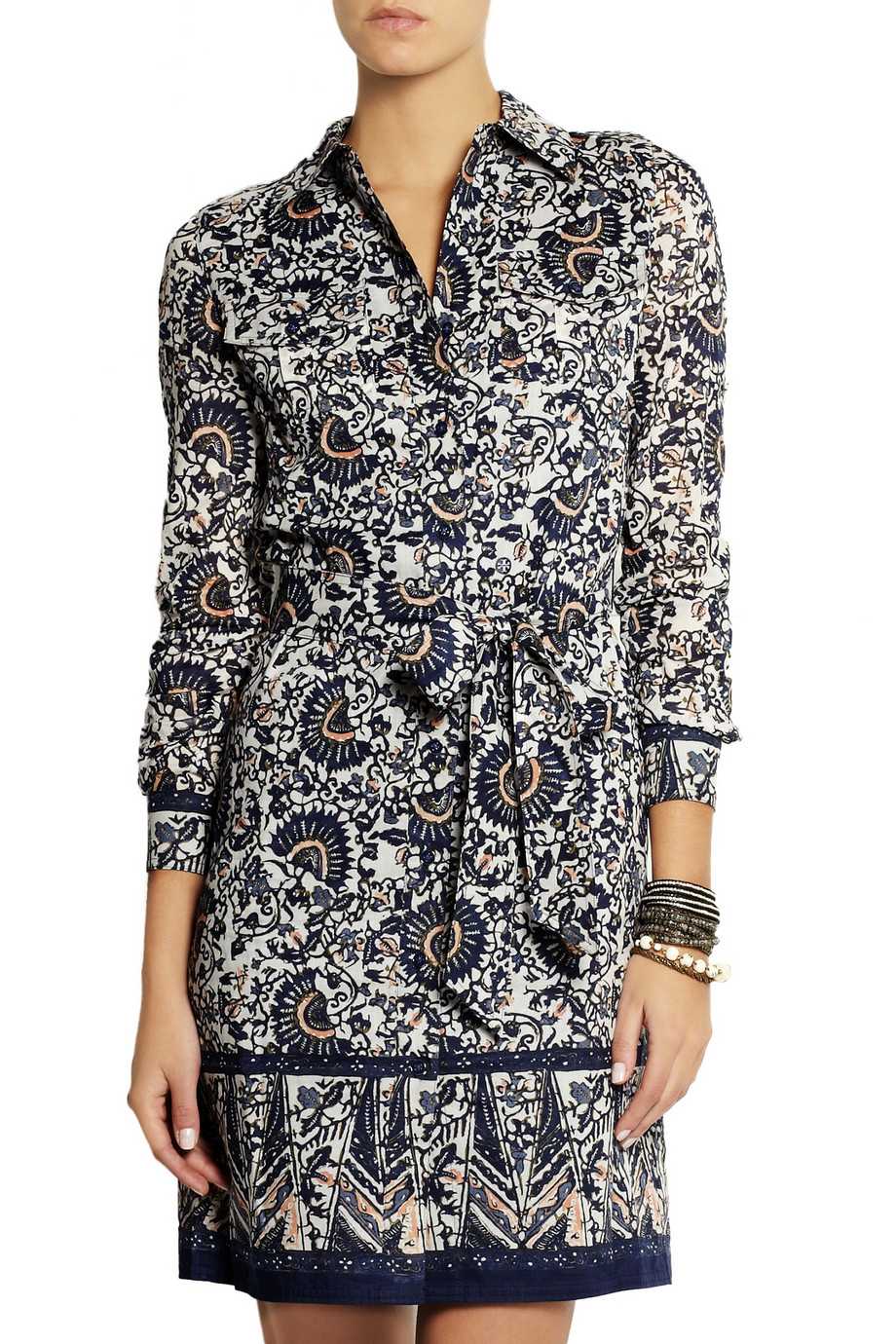 d153710f422 Tory Burch Brigitte Printed Cotton-voile Shirt Dress in Blue - Lyst