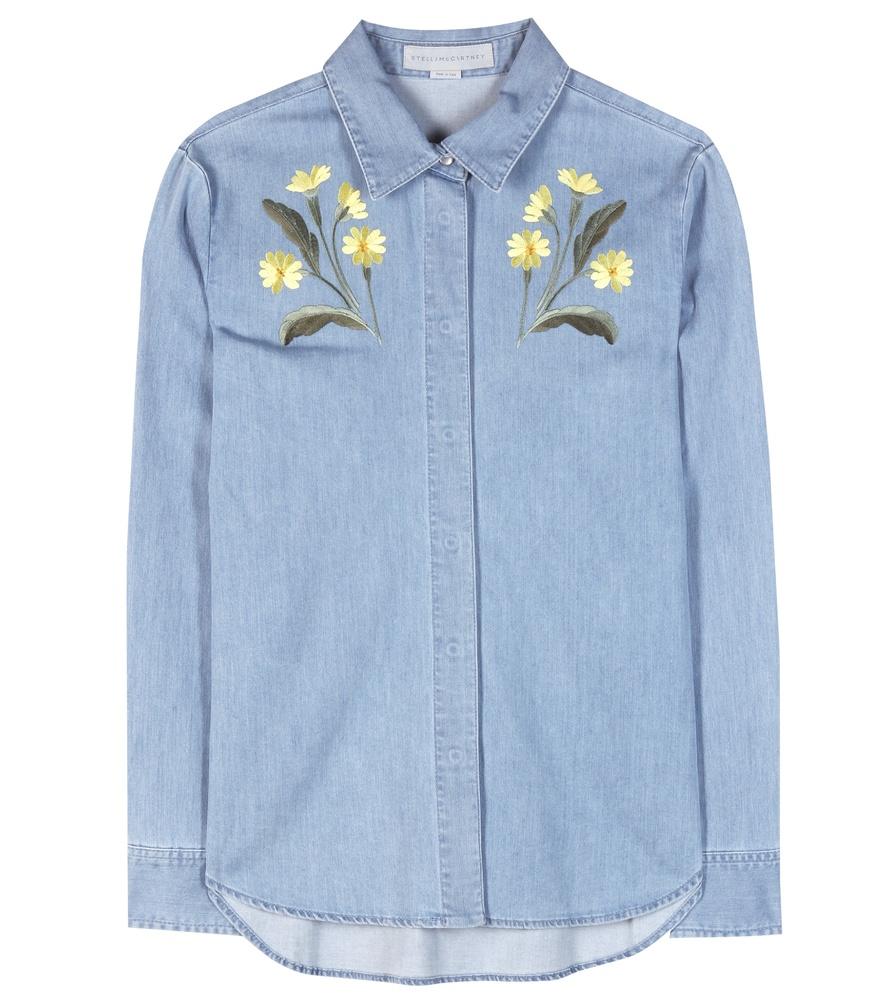 Lyst stella mccartney embroidered denim shirt in blue
