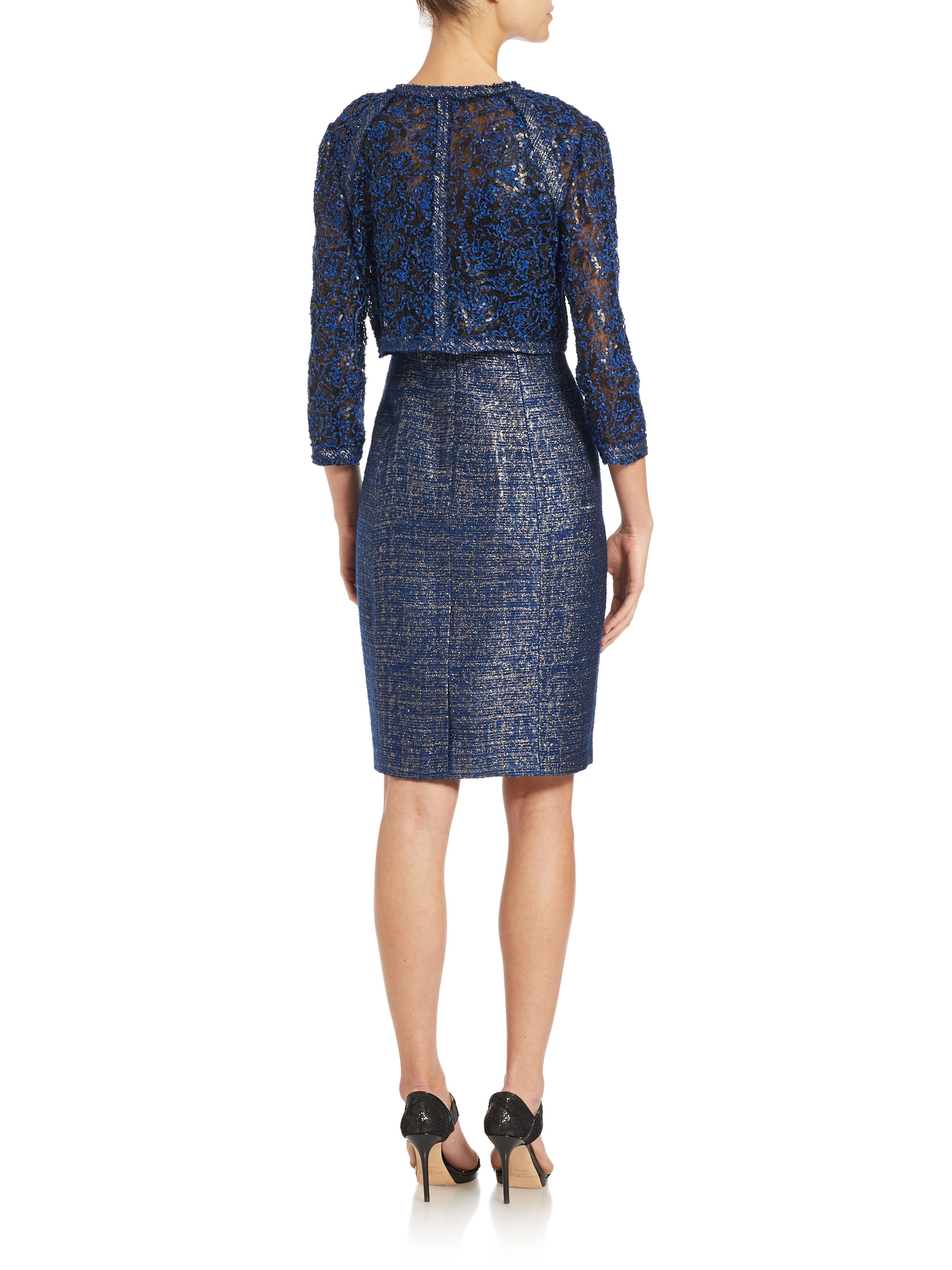 Kay unger Metallic Tweed Dress And Jacket Set in Blue | Lyst
