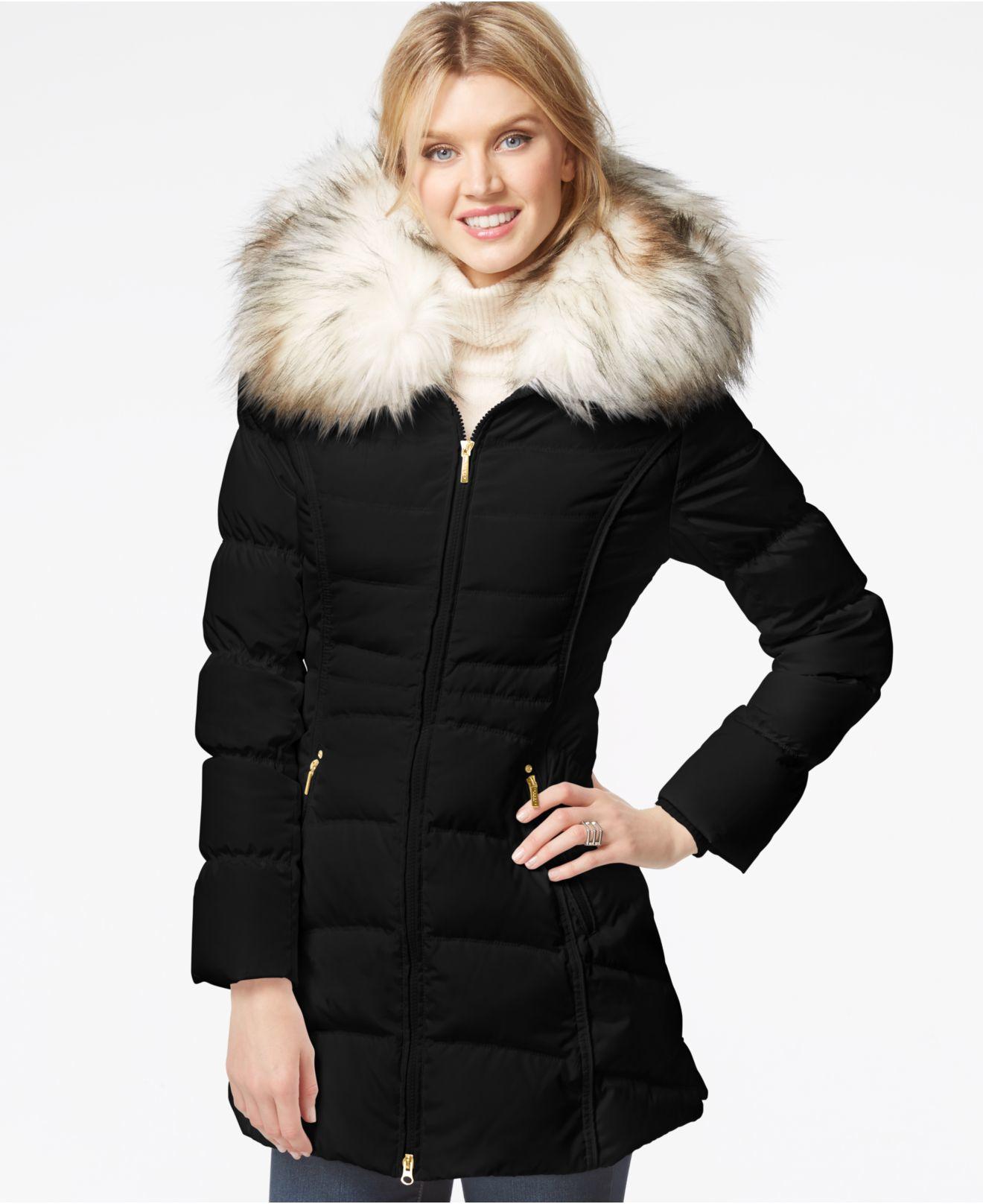 Laundry By Shelli Segal Faux Fur Hood Puffer Down Coat In