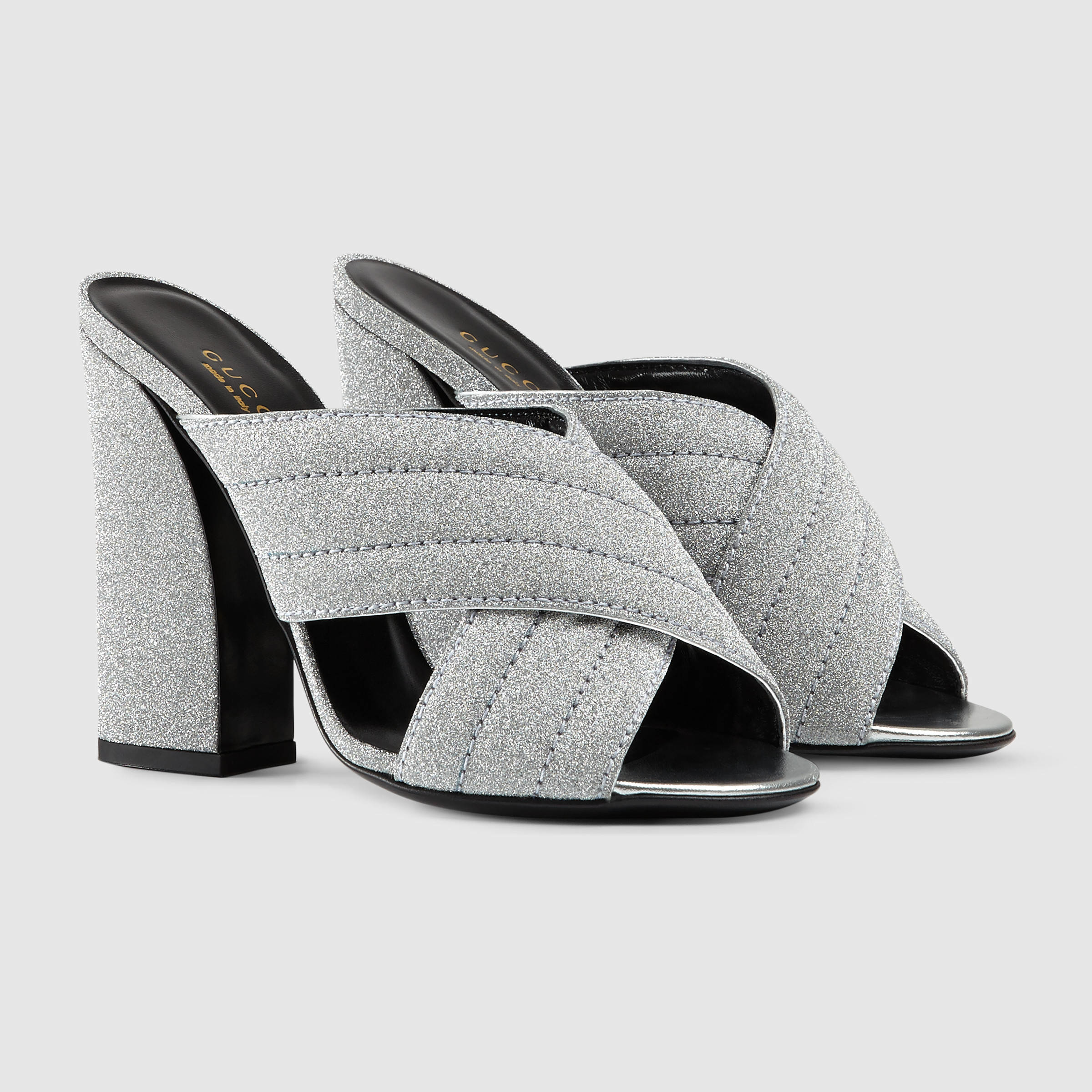0eeefee47dc Lyst - Gucci Glitter Crossover Sandal in Metallic