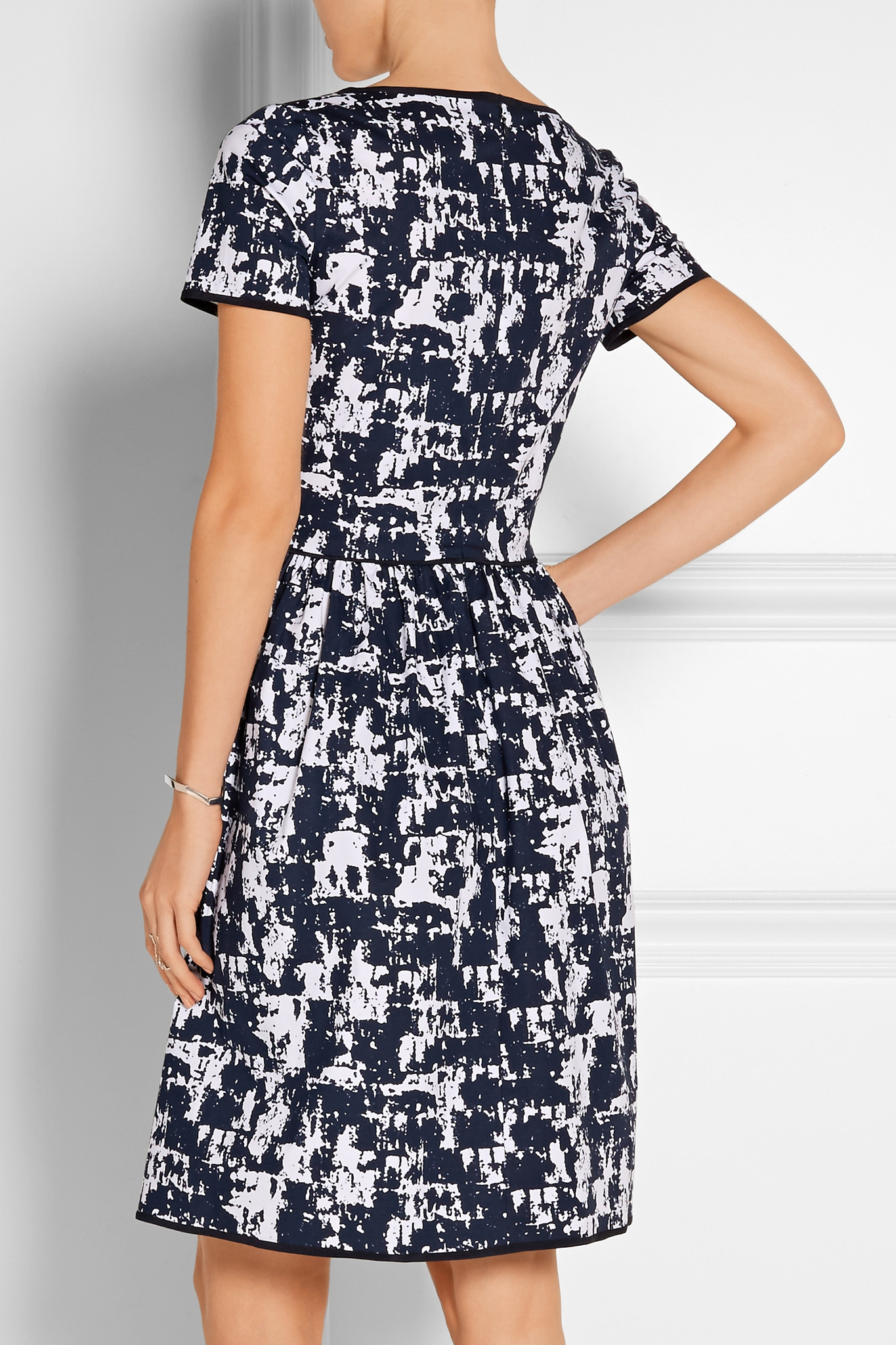 Pleated Printed Stretch-cotton Dress - Navy Oscar De La Renta Q7DbO2