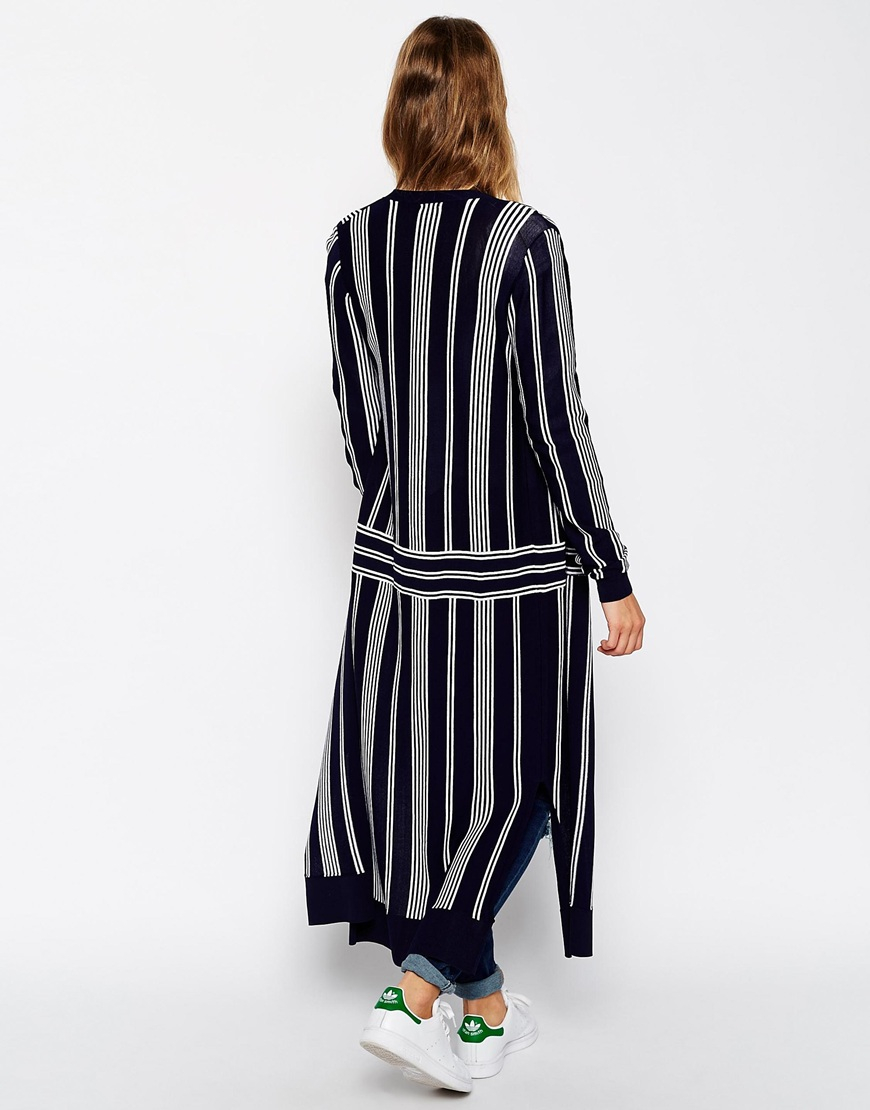 Asos Premium Maxi Cardigan In Stripe Fine Knit in Blue | Lyst