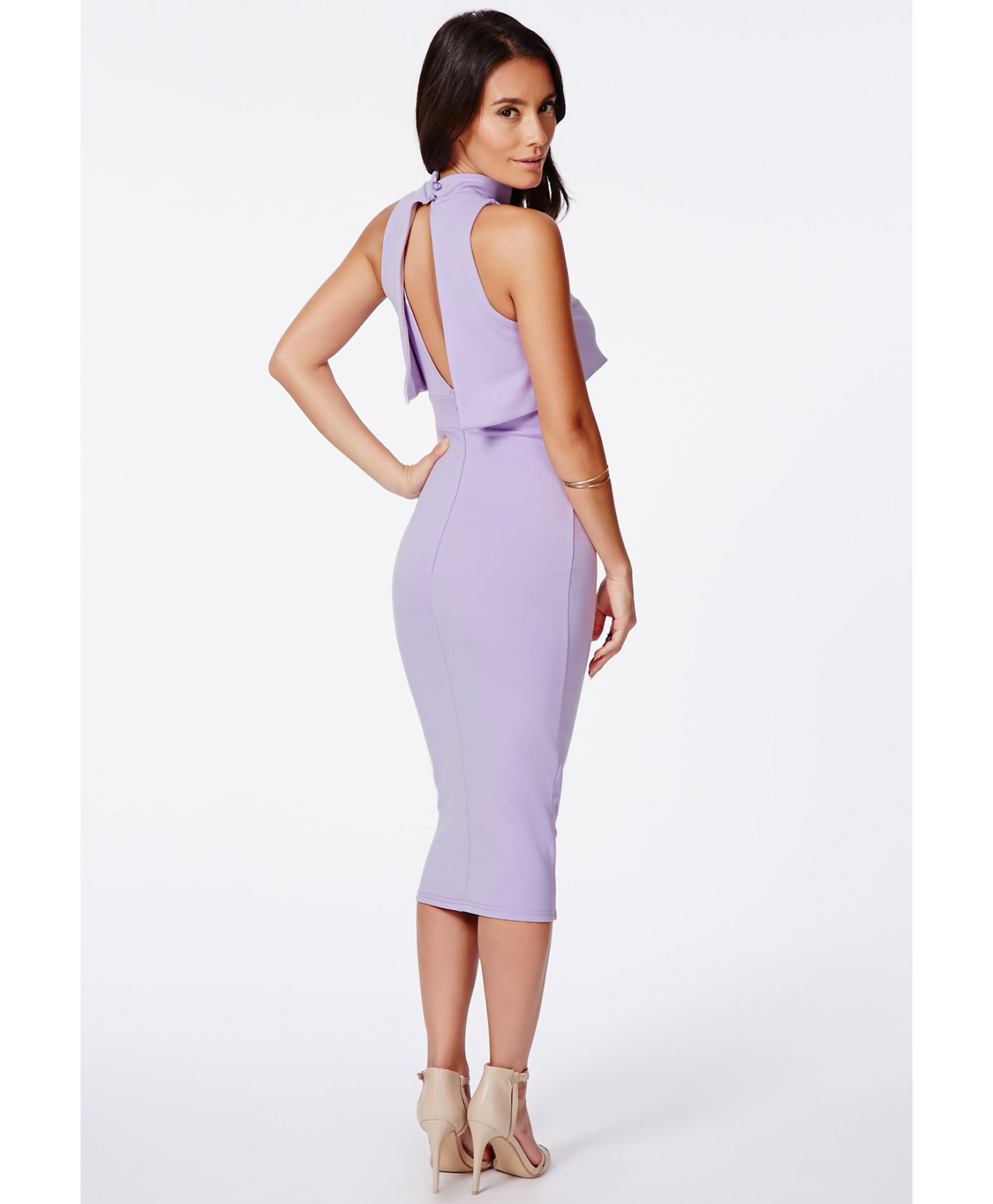Lyst - Missguided Antosia High Neck Midi Dress In Lilac in ...