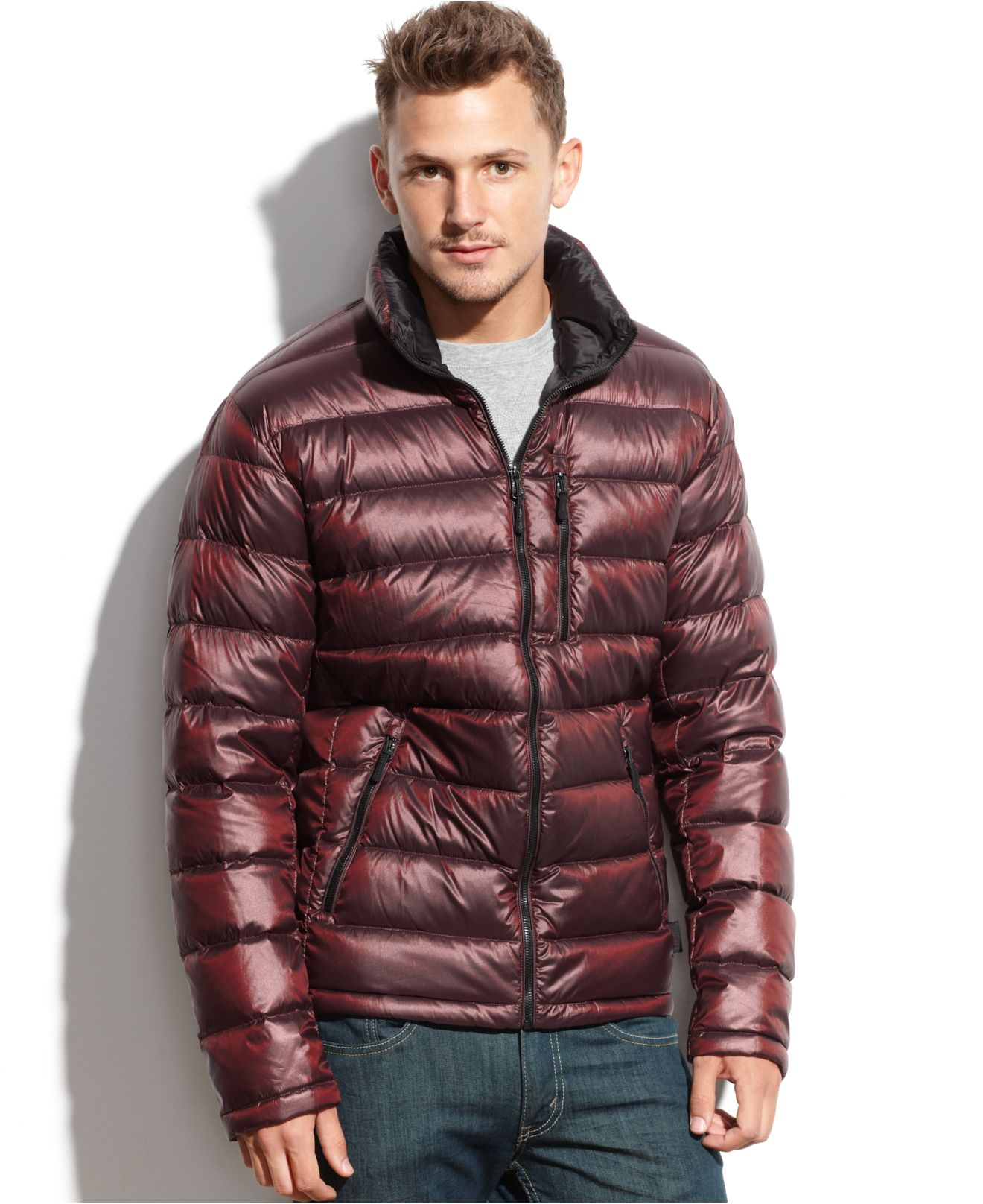 Lyst Calvin Klein Packable Down Jacket In Red For Men