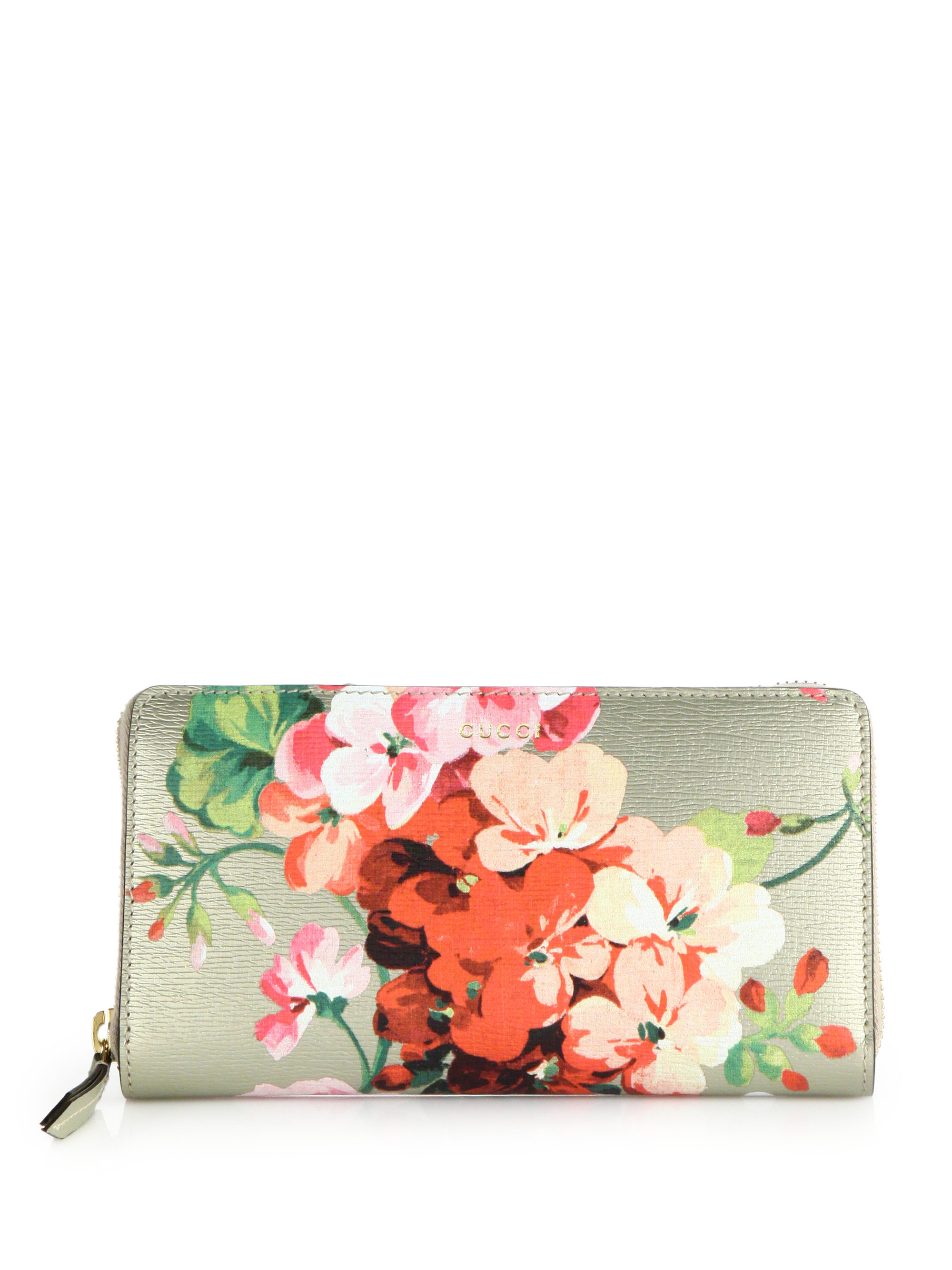 b6de1fcf0cc39b Gucci Shanghai Blooms-print Zip-around Wallet in Metallic - Lyst