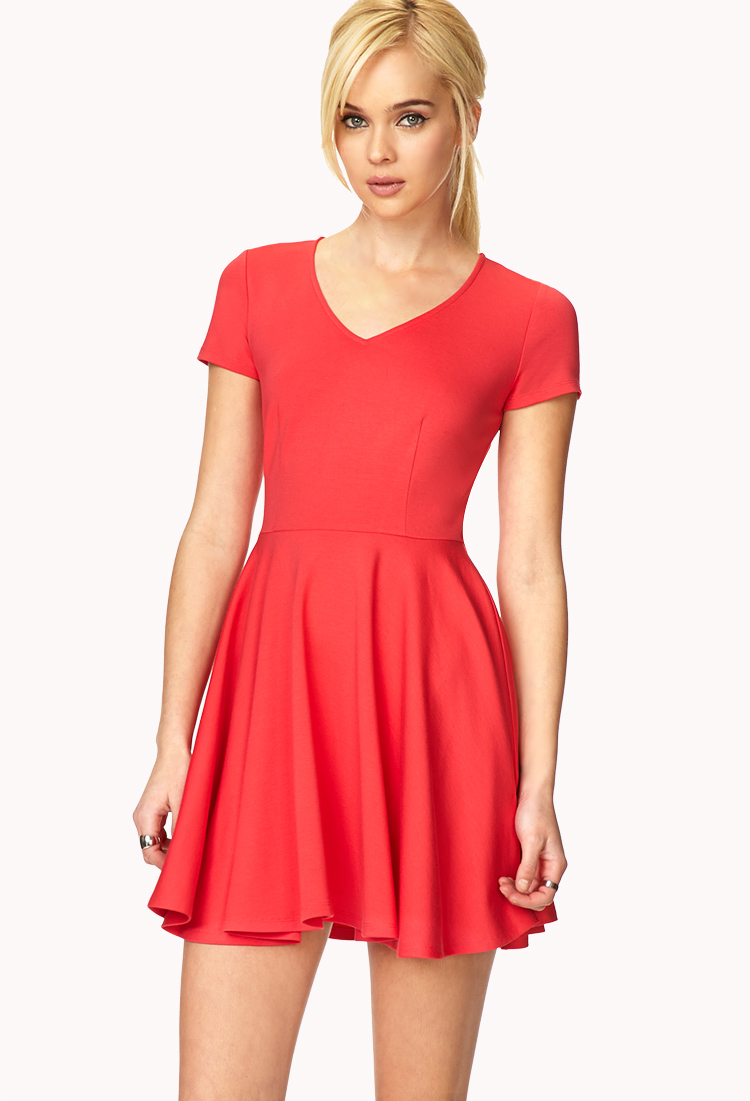 Forever 21 Iconic Fit Amp Flare Dress In Pink Coral Lyst
