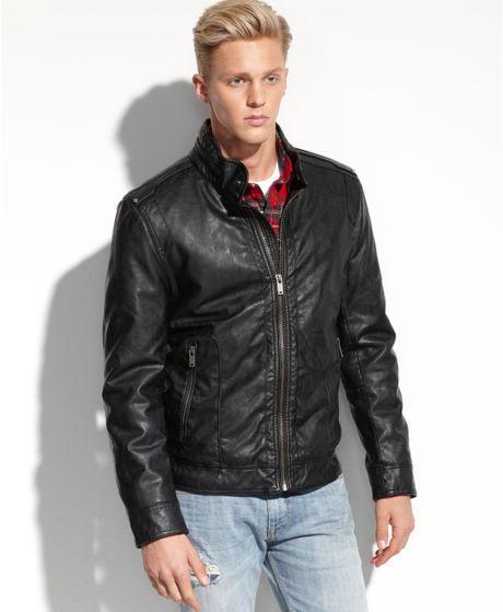 Guess Faux Leather Biker Jacket in Black   Lyst