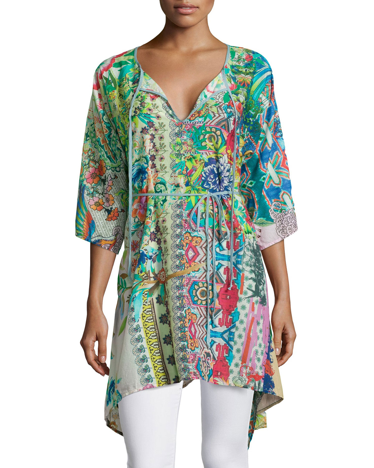 Johnny was Dreamy Tie-Neck Floral-Print Tunic | Lyst