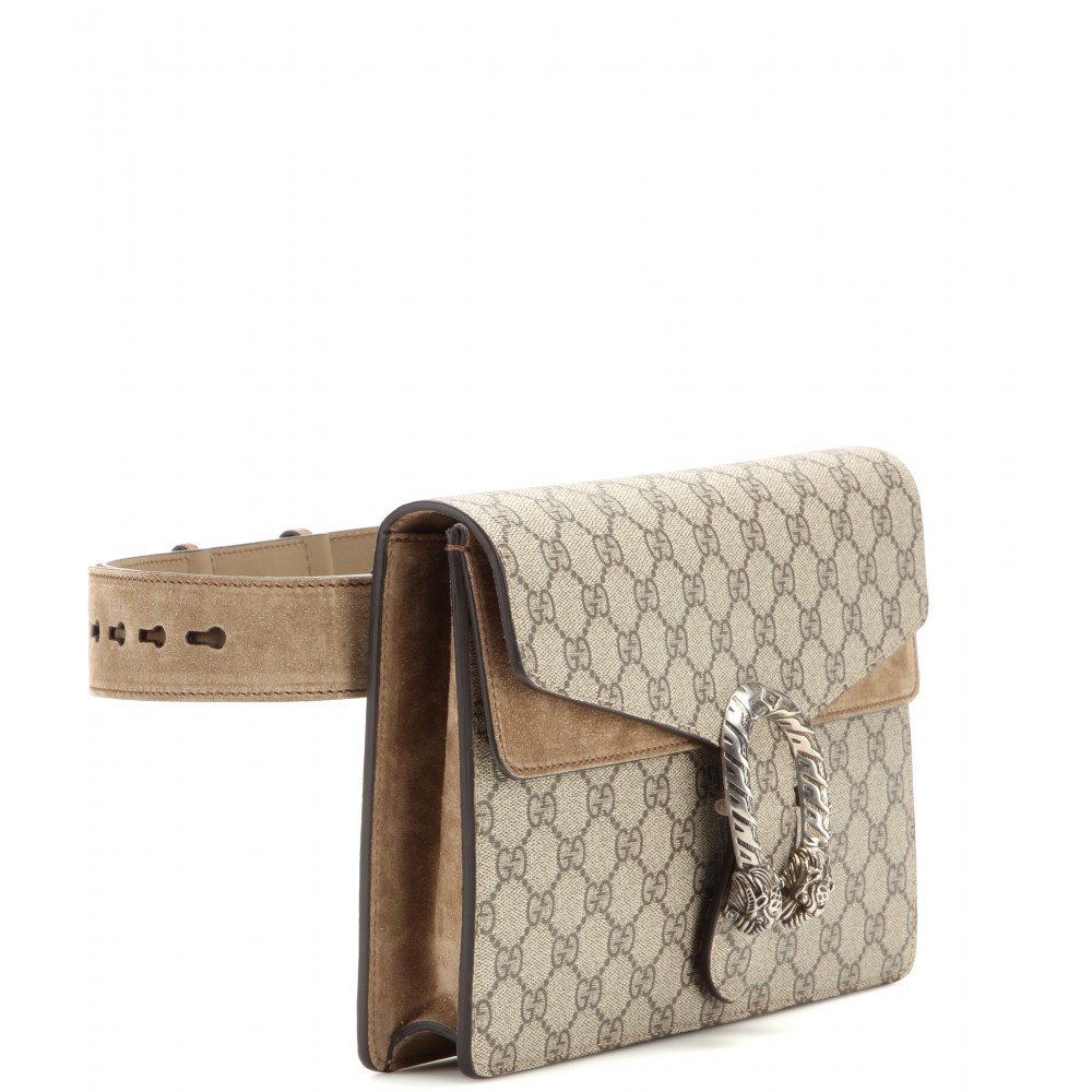 16c0aca232c Lyst Gucci Dionysus Gg Supreme Coated Canvas And Suede Belt Bag In