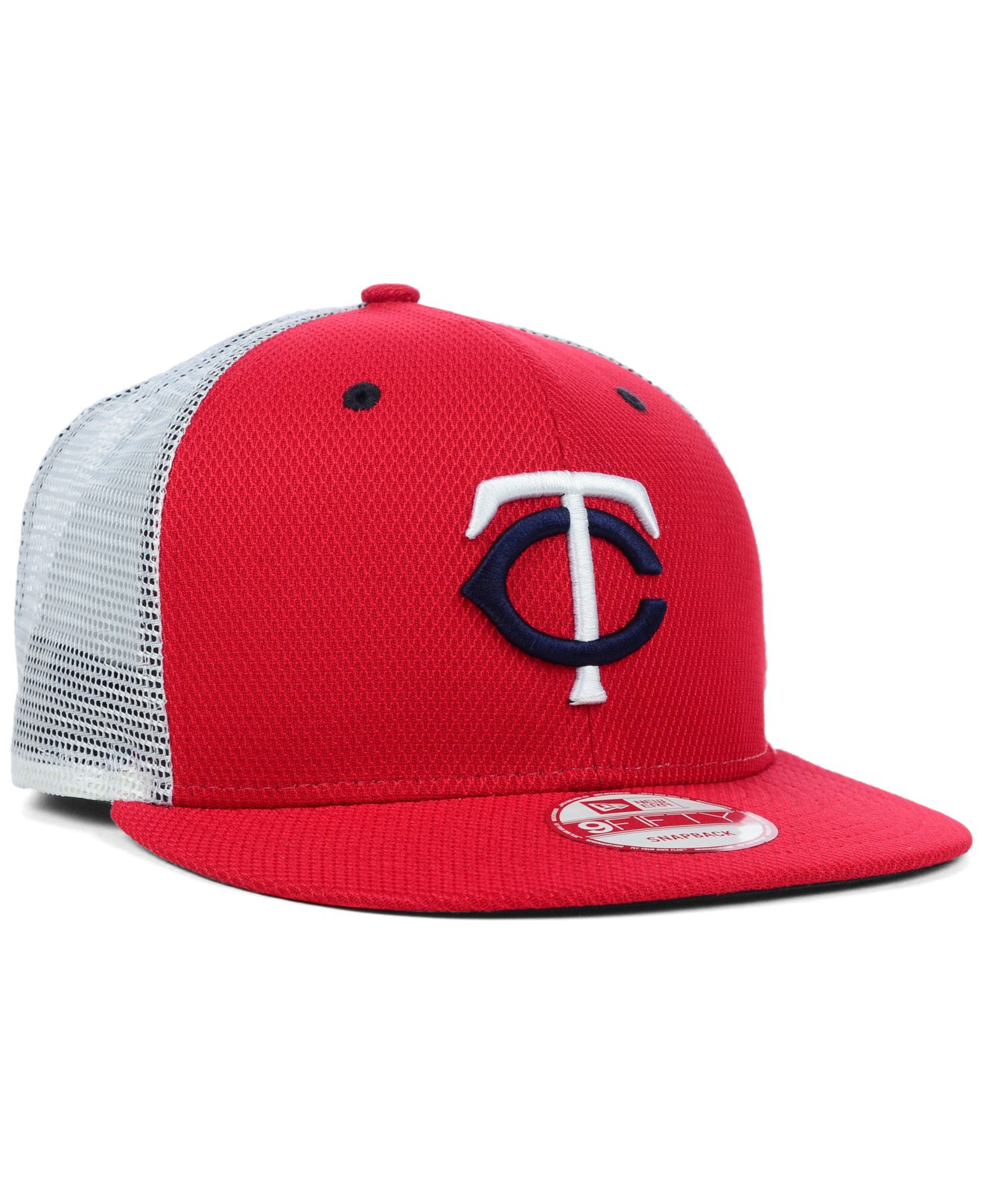 reputable site fb735 315d9 KTZ Minnesota Twins Mlb Diamond Mesh 9fifty Snapback Cap in Red for ...