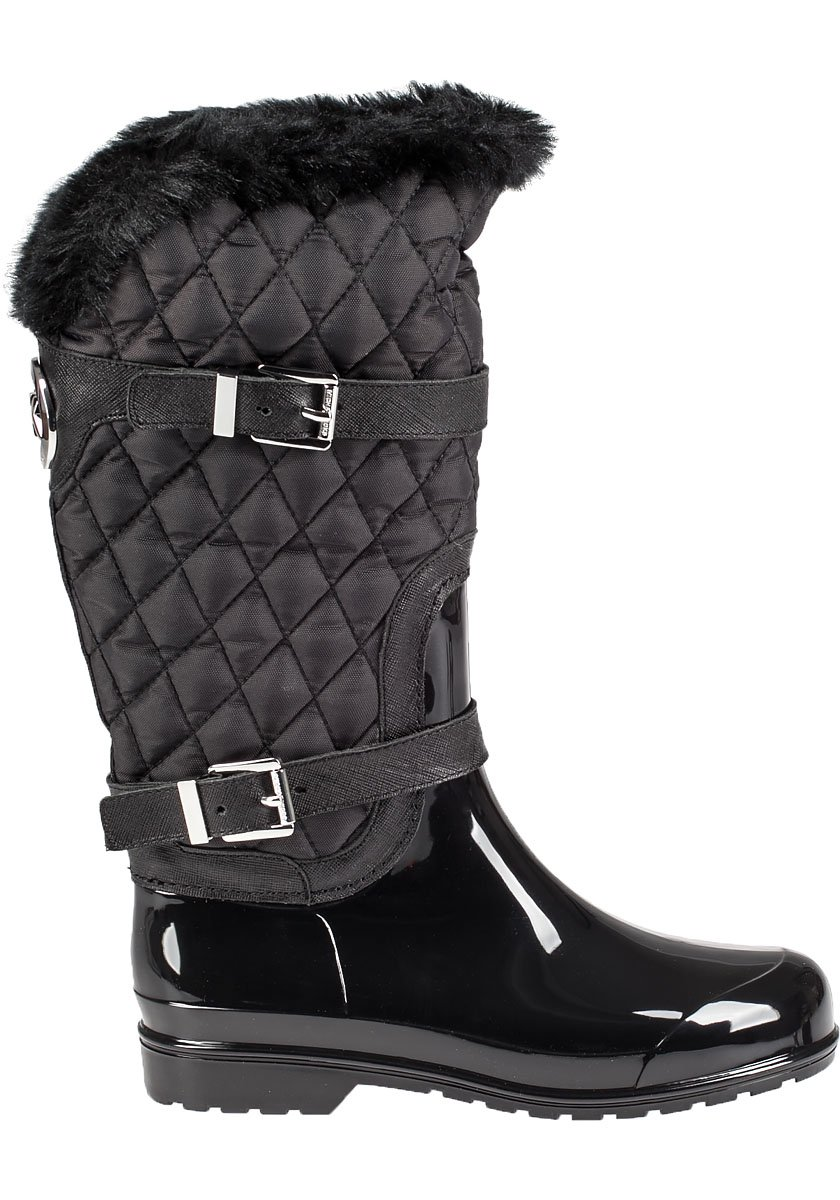 Lyst - Michael Michael Kors Fulton Quilted Patent Boots in ...