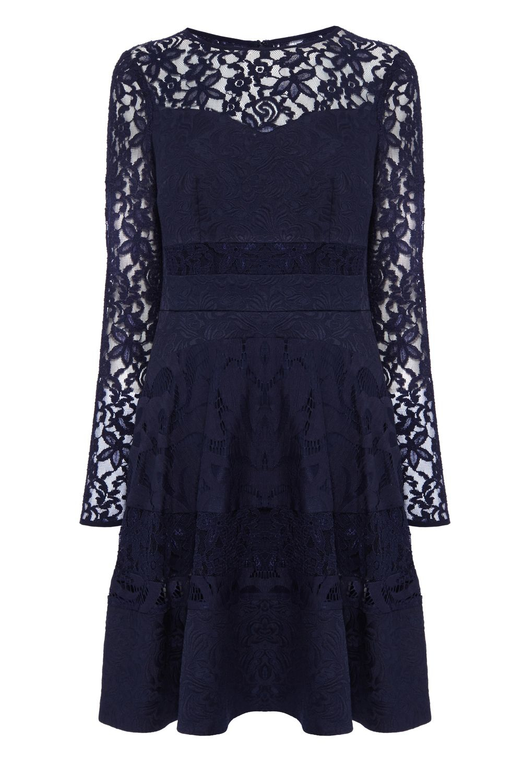 Coast Merinem Lace Sleeve Dress in Blue