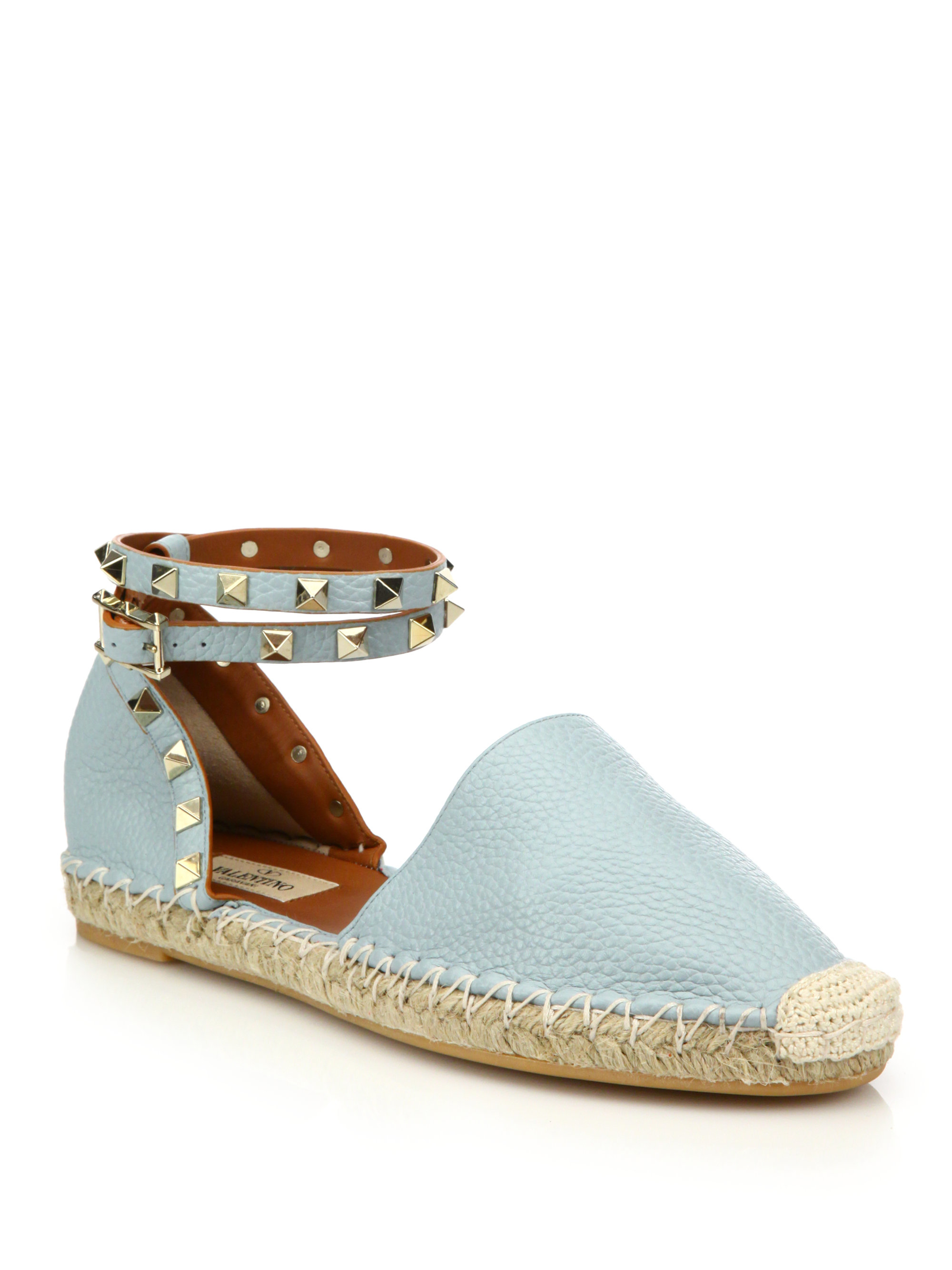329f49c2b18d Lyst - Valentino Rockstud Leather Ankle-wrap Espadrille Flats in Blue