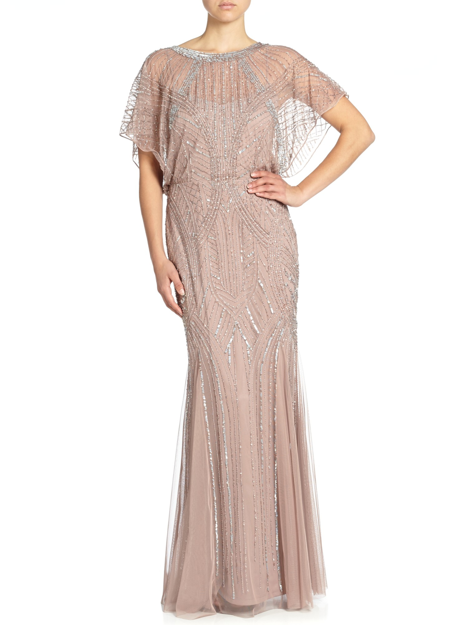 Aidan Mattox Beaded Blouson Gown With Dolman Sleeve In