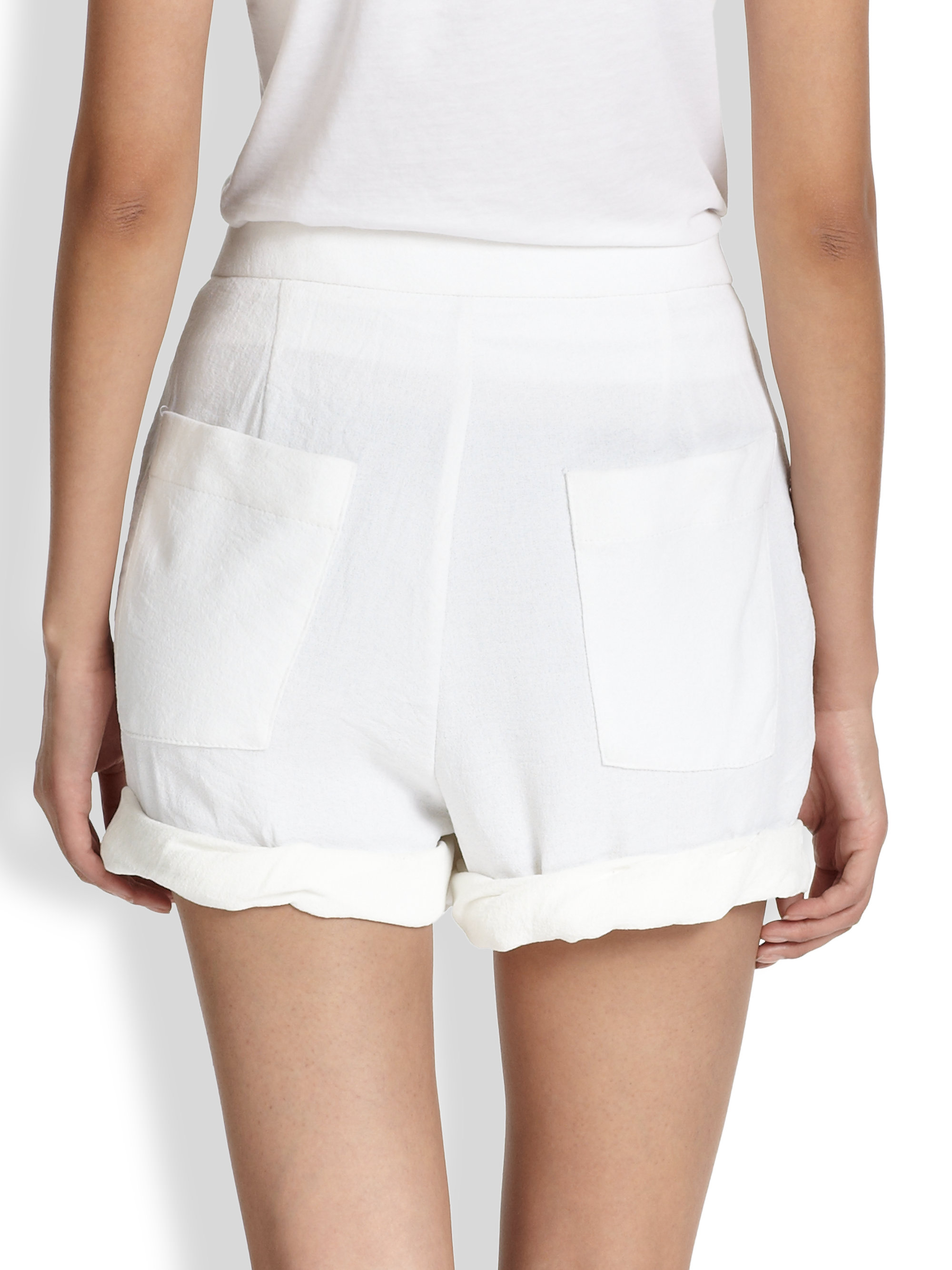 Lyst - Helmut Lang Drapefront Origami Shorts in White - photo#8