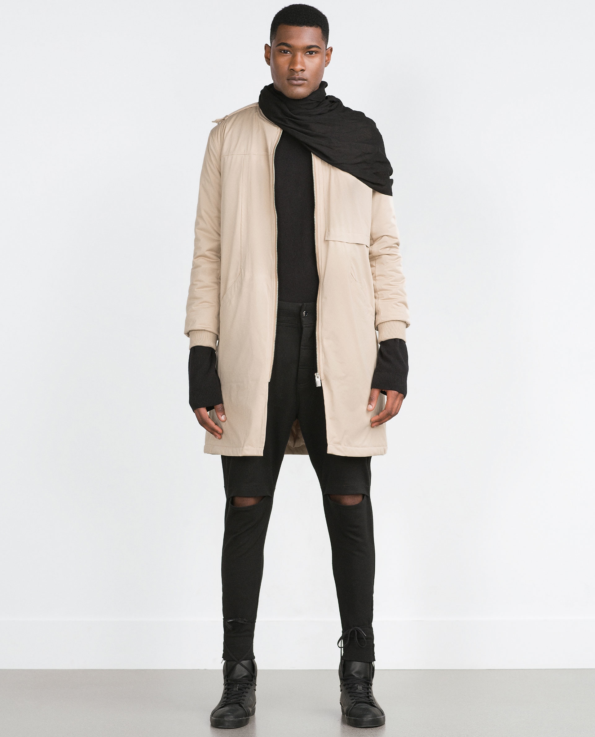 Zara Long Bomber Jacket in Natural for Men | Lyst