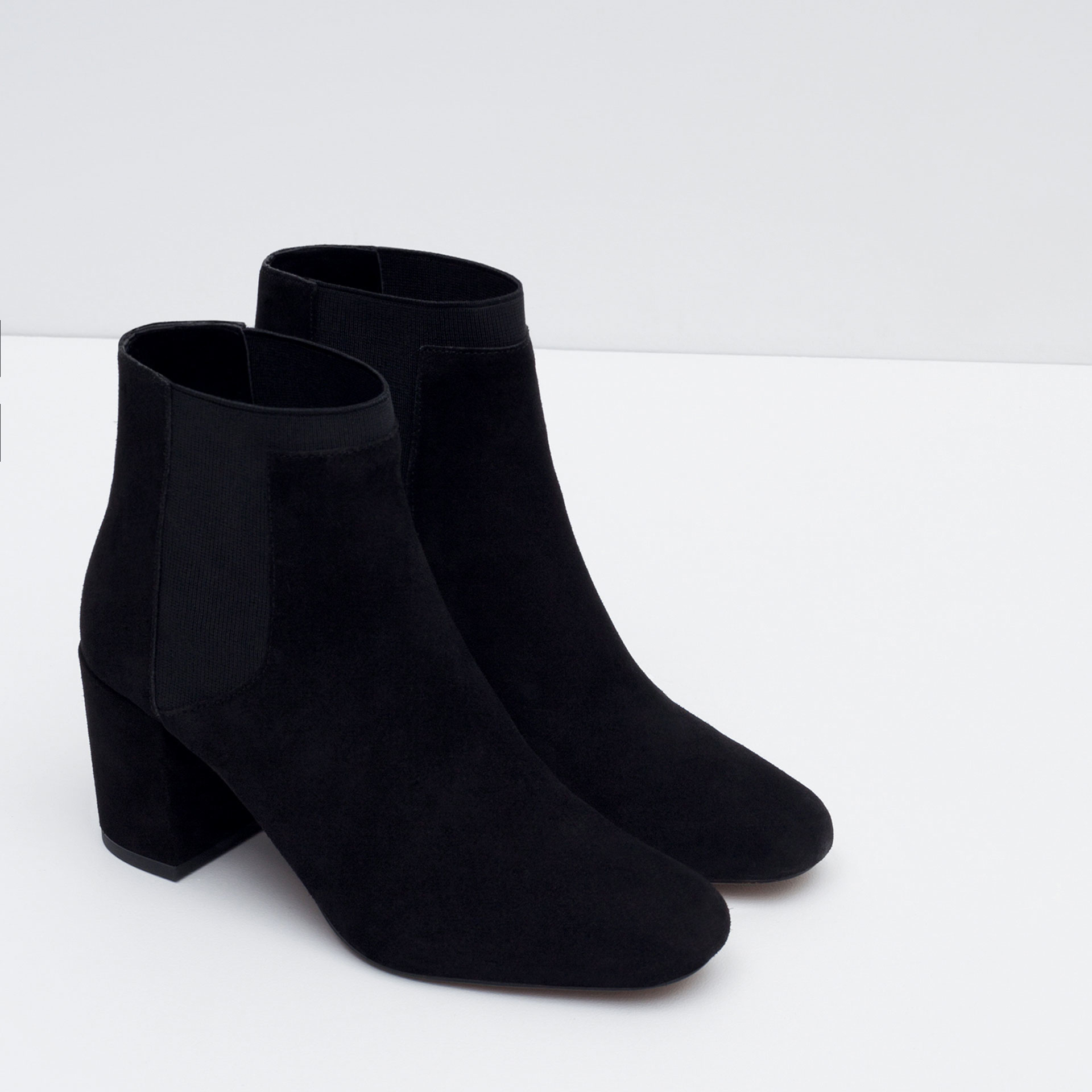 zara elastic high heel leather ankle boots in black lyst