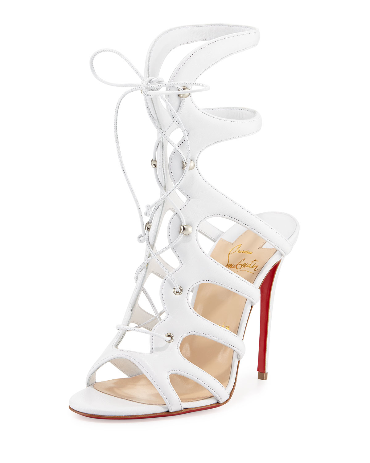 christian louboutin houla hot patent 100mm red sole sandal