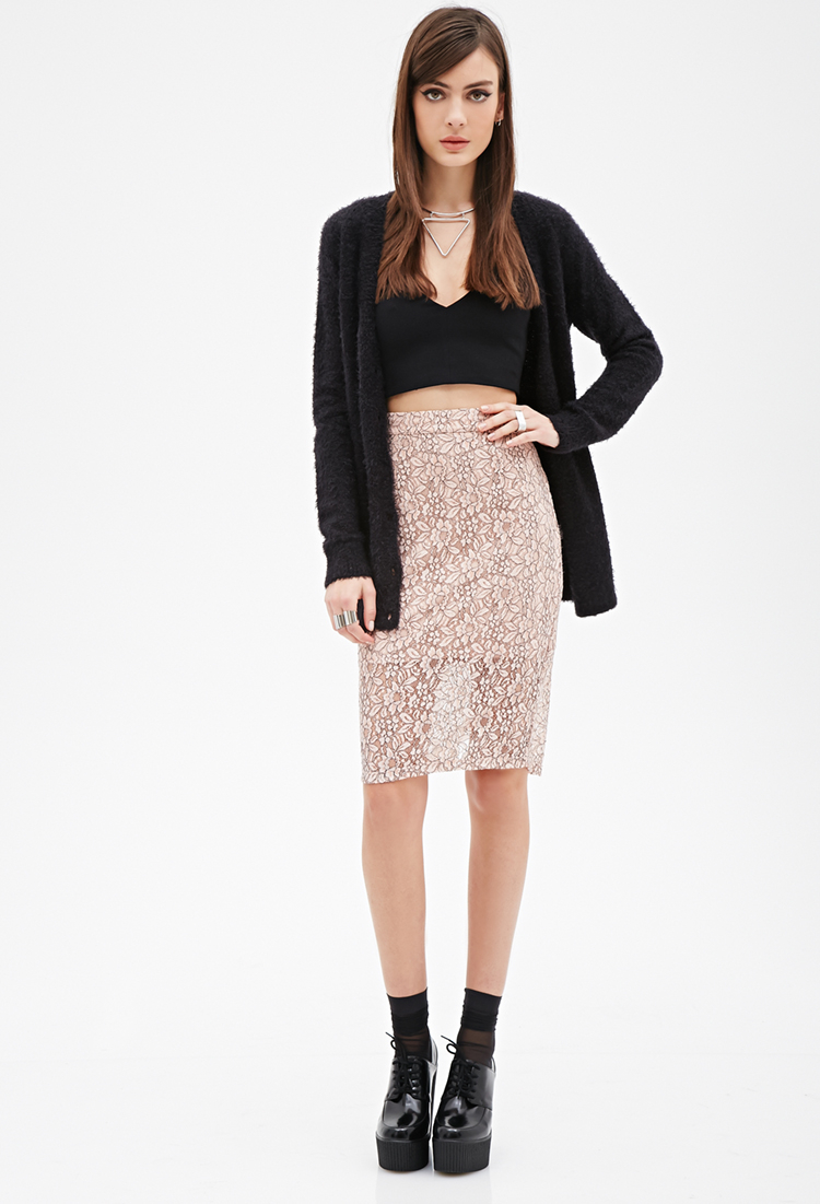 Forever 21 Floral Lace Pencil Skirt in Purple | Lyst