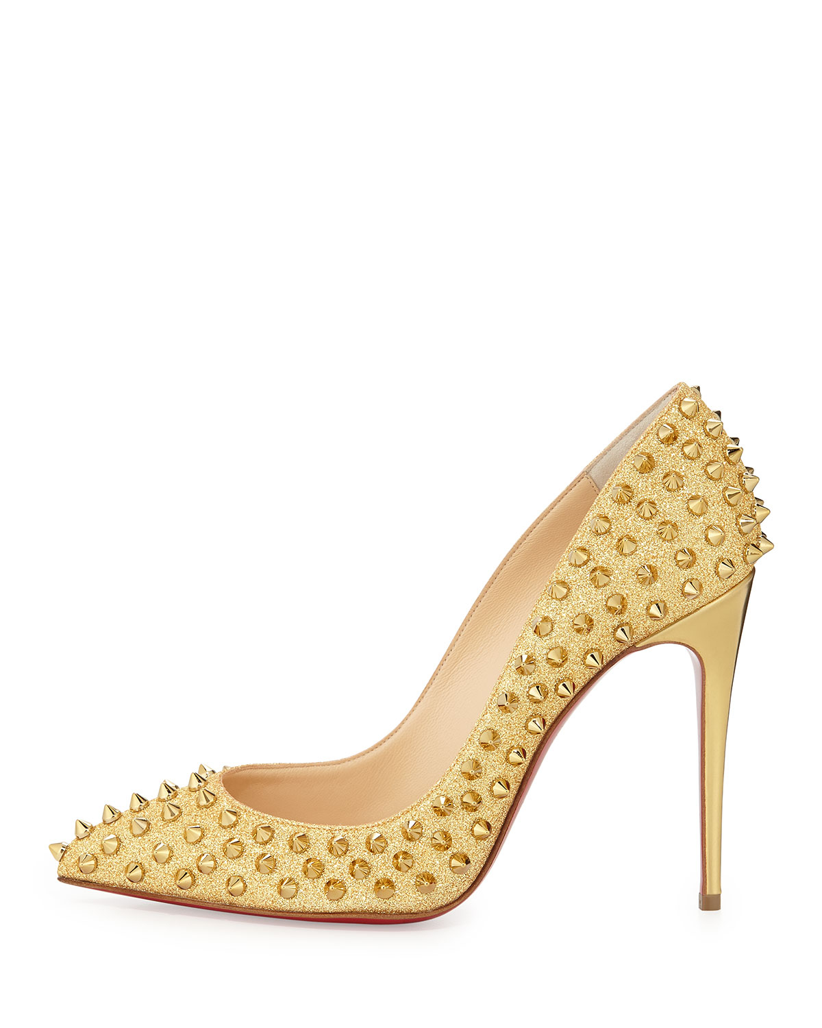 christian louboutin gold spiked shoes