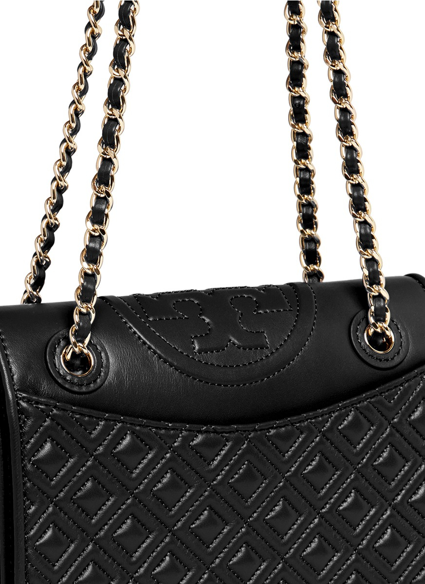 5cbb2634240 Lyst - Tory Burch  fleming  Medium Quilted Leather Bag in Black