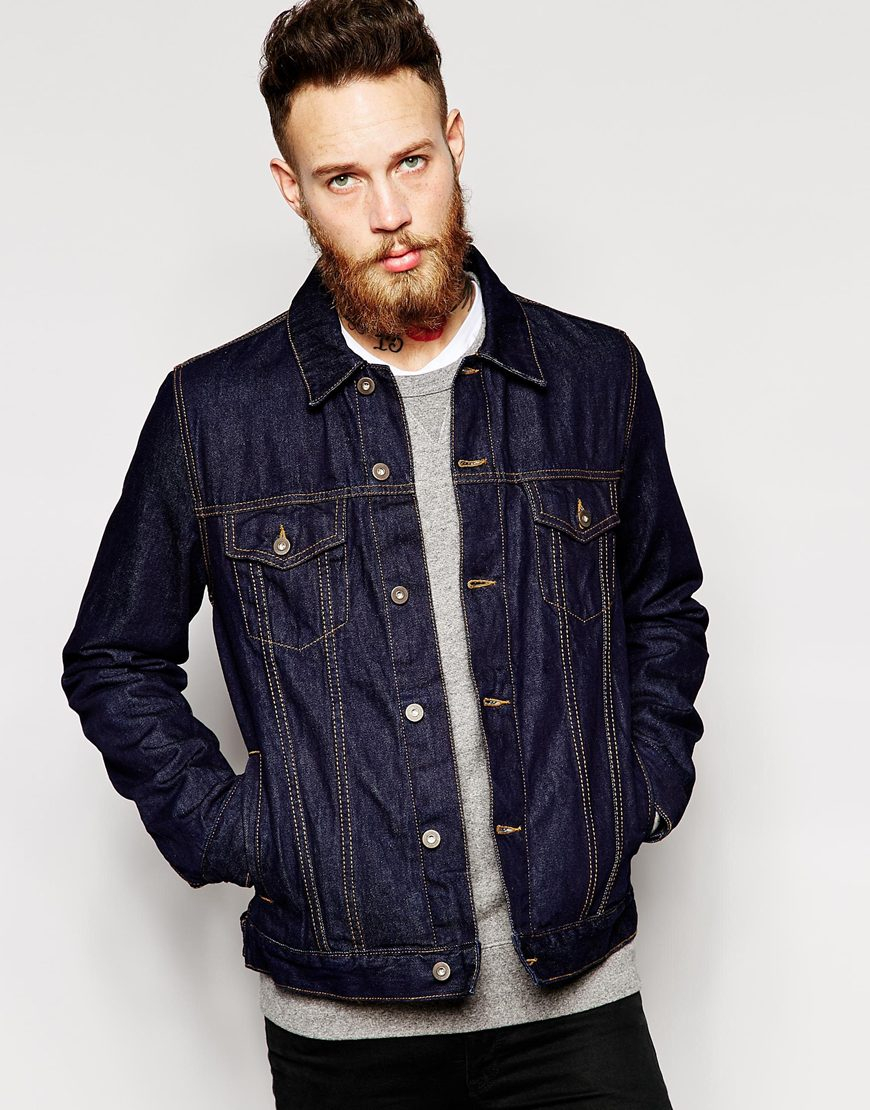 Asos Denim Jacket In Slim Fit in Blue for Men | Lyst
