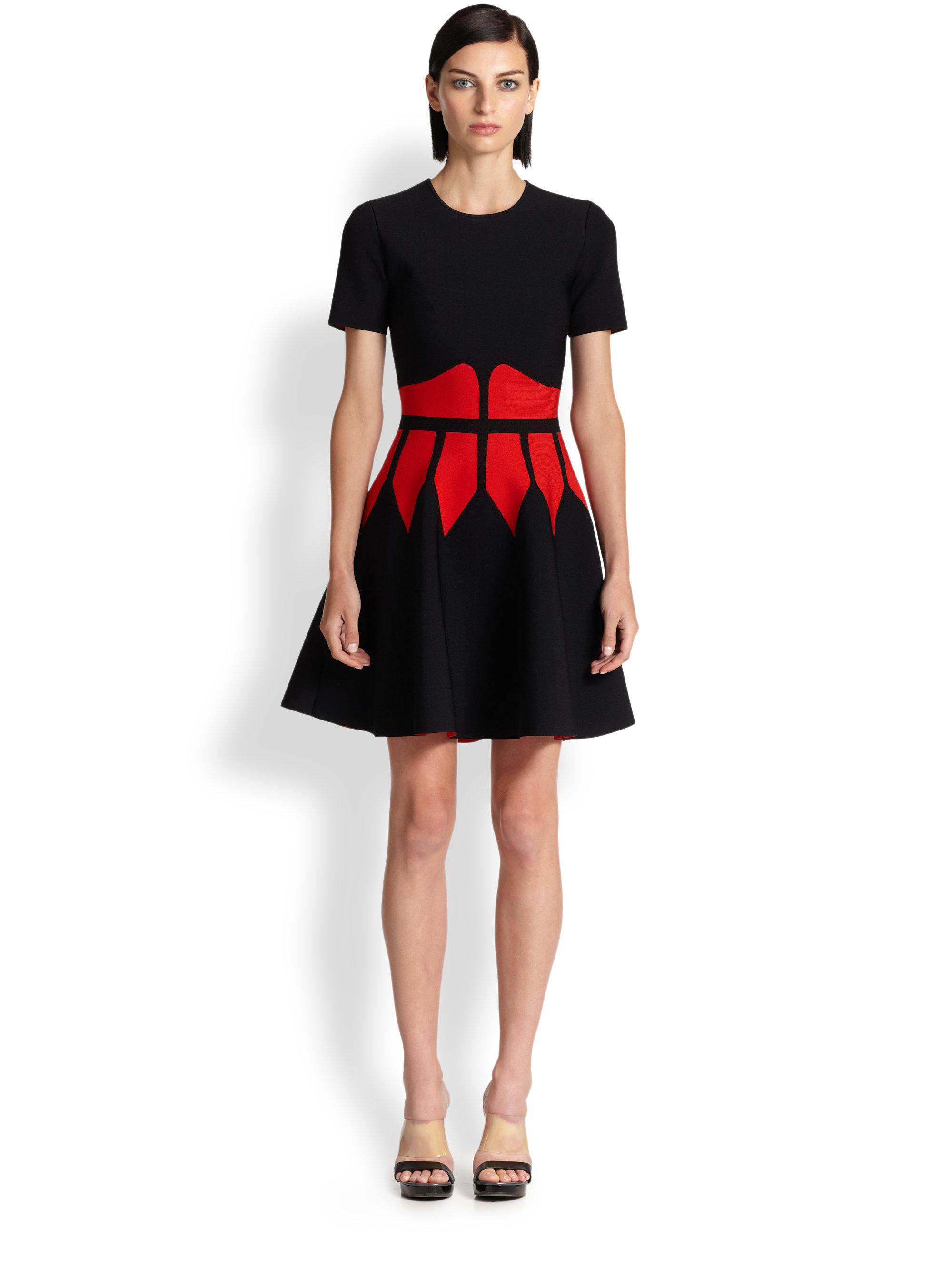 Lyst Alexander Mcqueen Intarsia Knit Corset Dress In Black