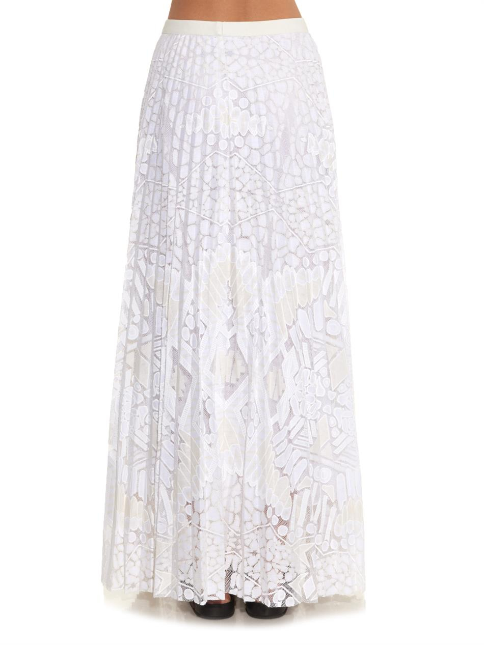 sea pleated lace maxi skirt in white lyst