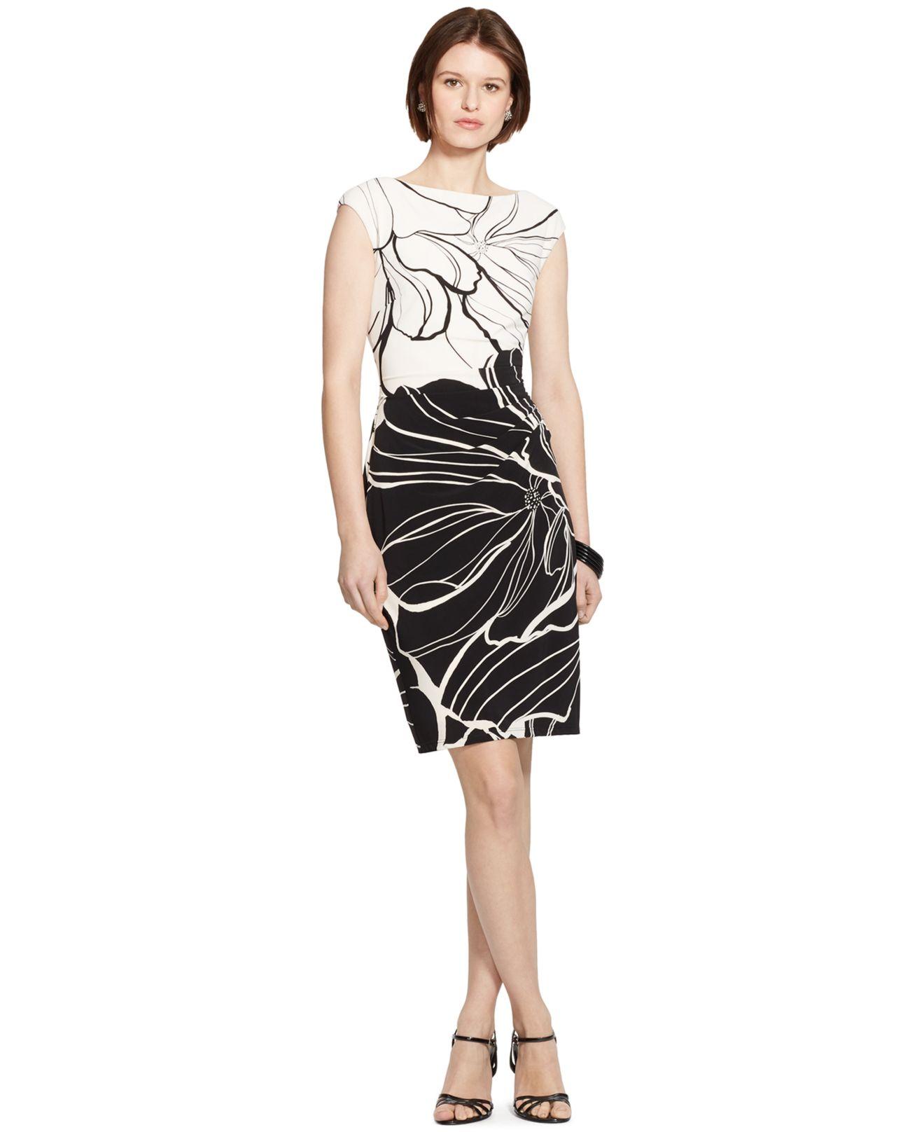 lauren by ralph lauren floral print cap sleeve sheath. Black Bedroom Furniture Sets. Home Design Ideas