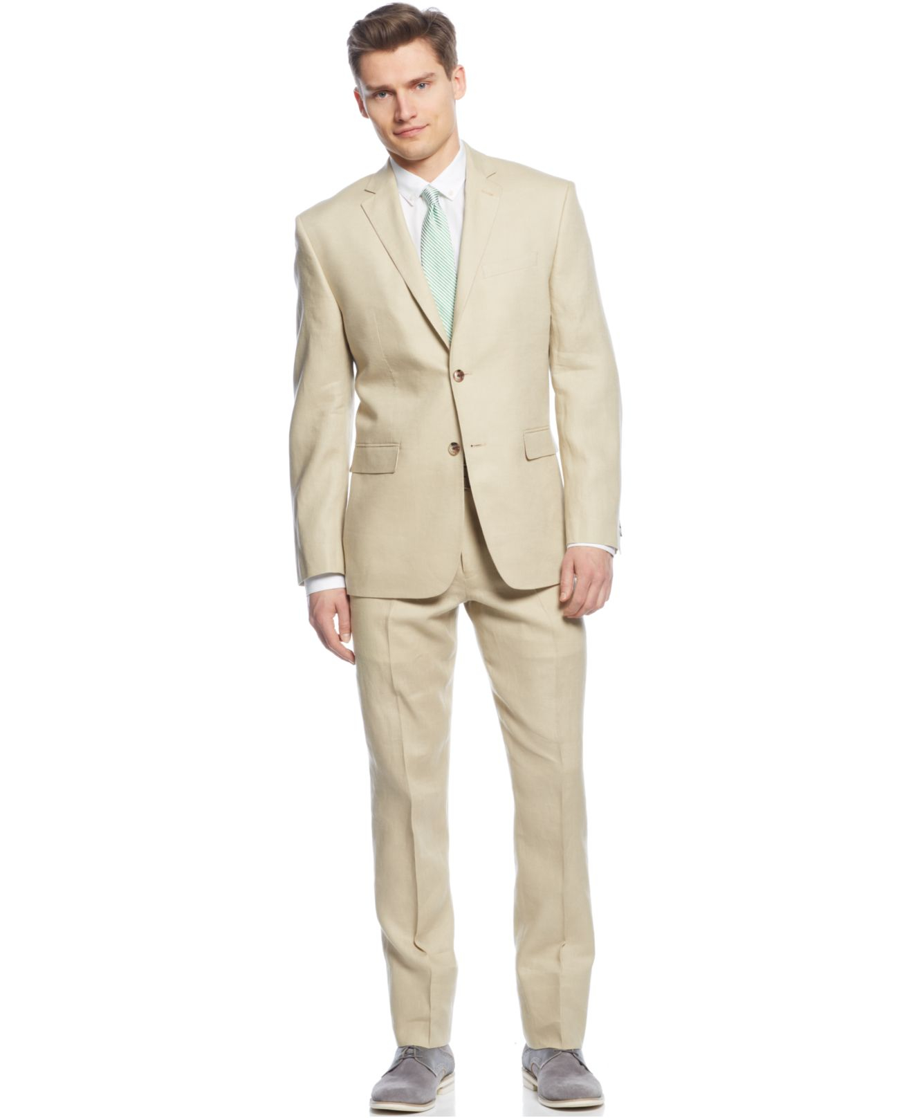 Perry ellis Tan Solid Linen Slim-fit Suit in Natural for Men | Lyst