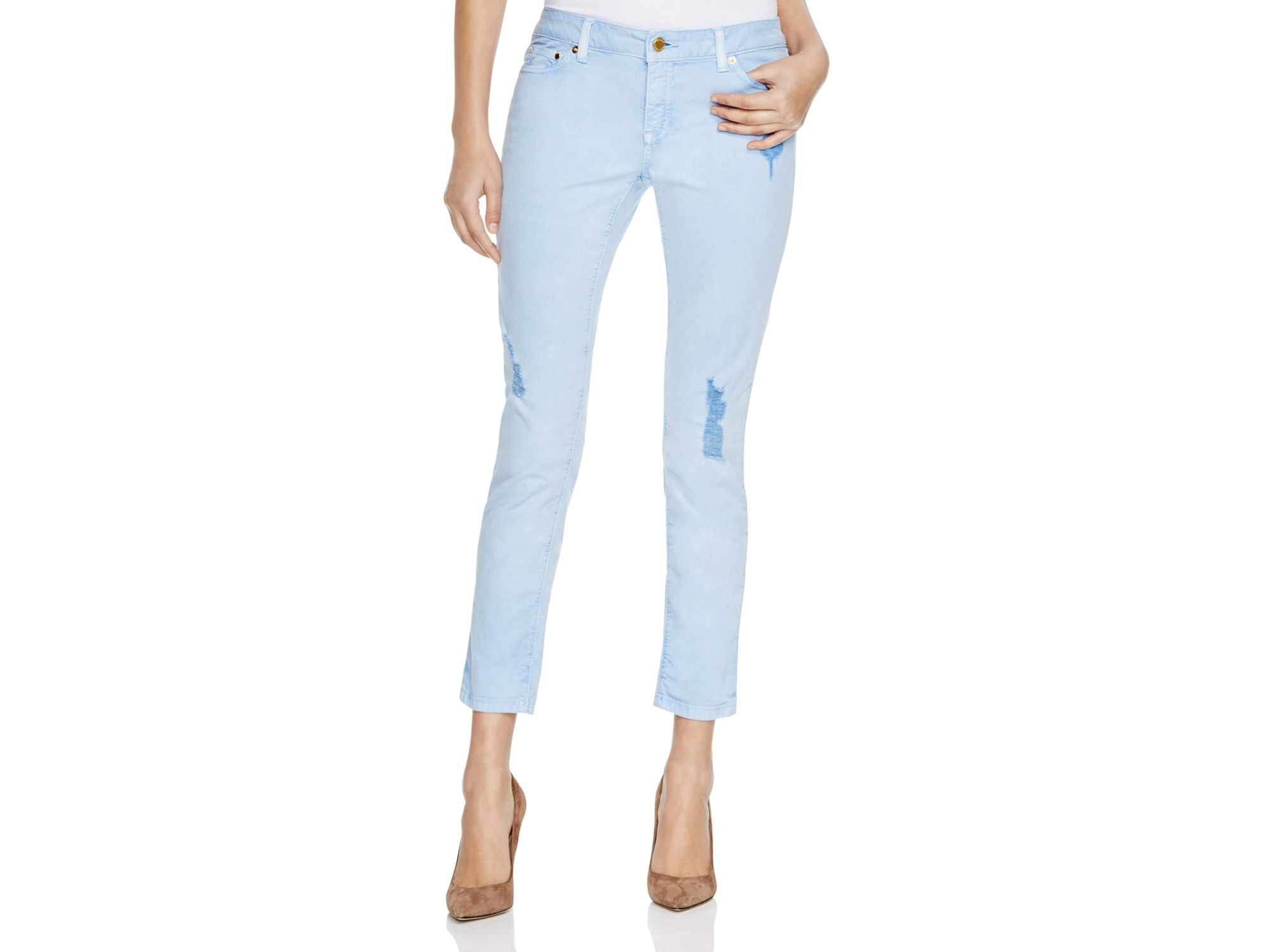 Michael kors Michael Distressed Cropped Skinny Jeans In Pale Crew ...