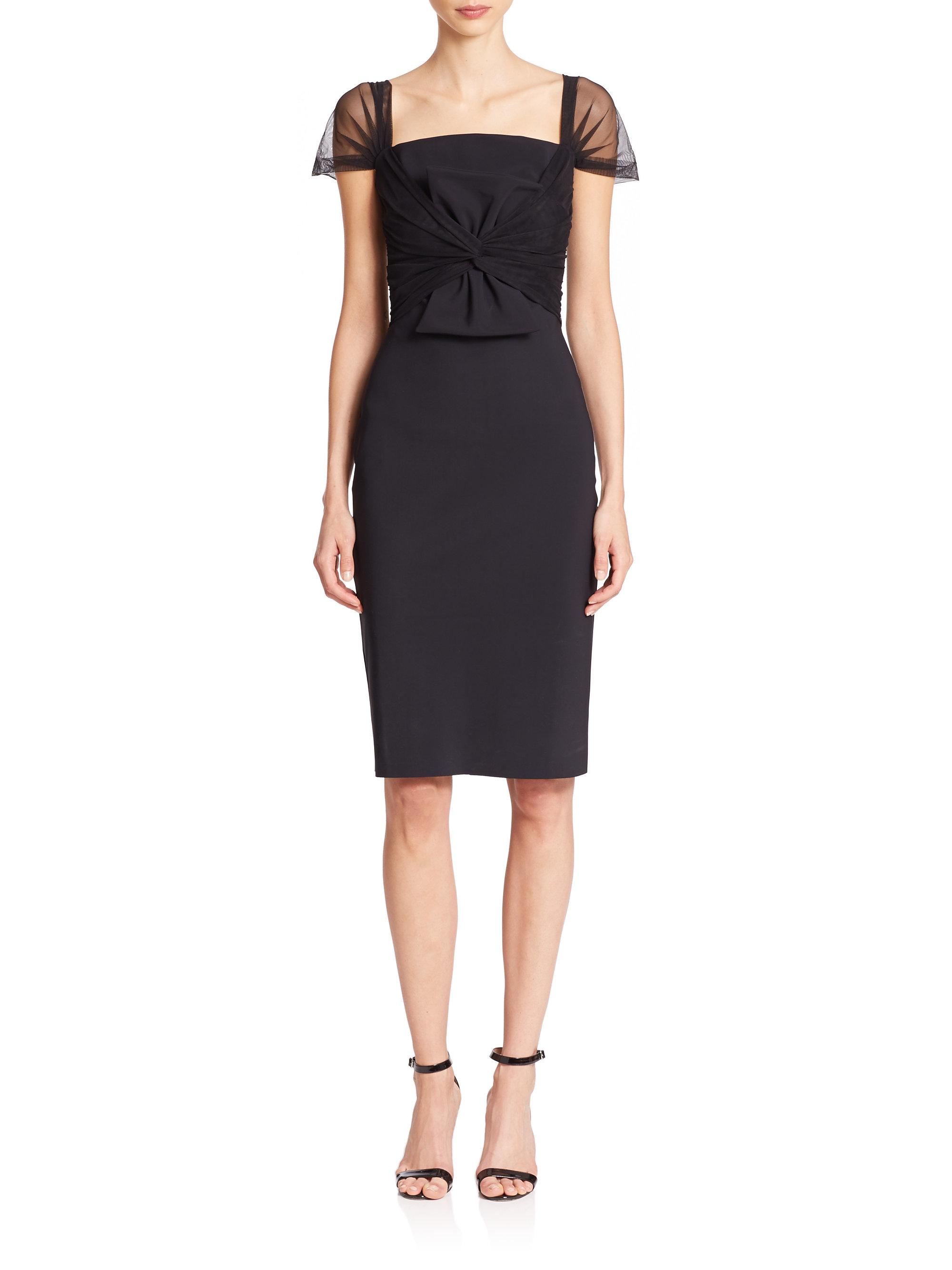 lyst la petite robe di chiara boni illusion sleeve bow waist dress in black. Black Bedroom Furniture Sets. Home Design Ideas
